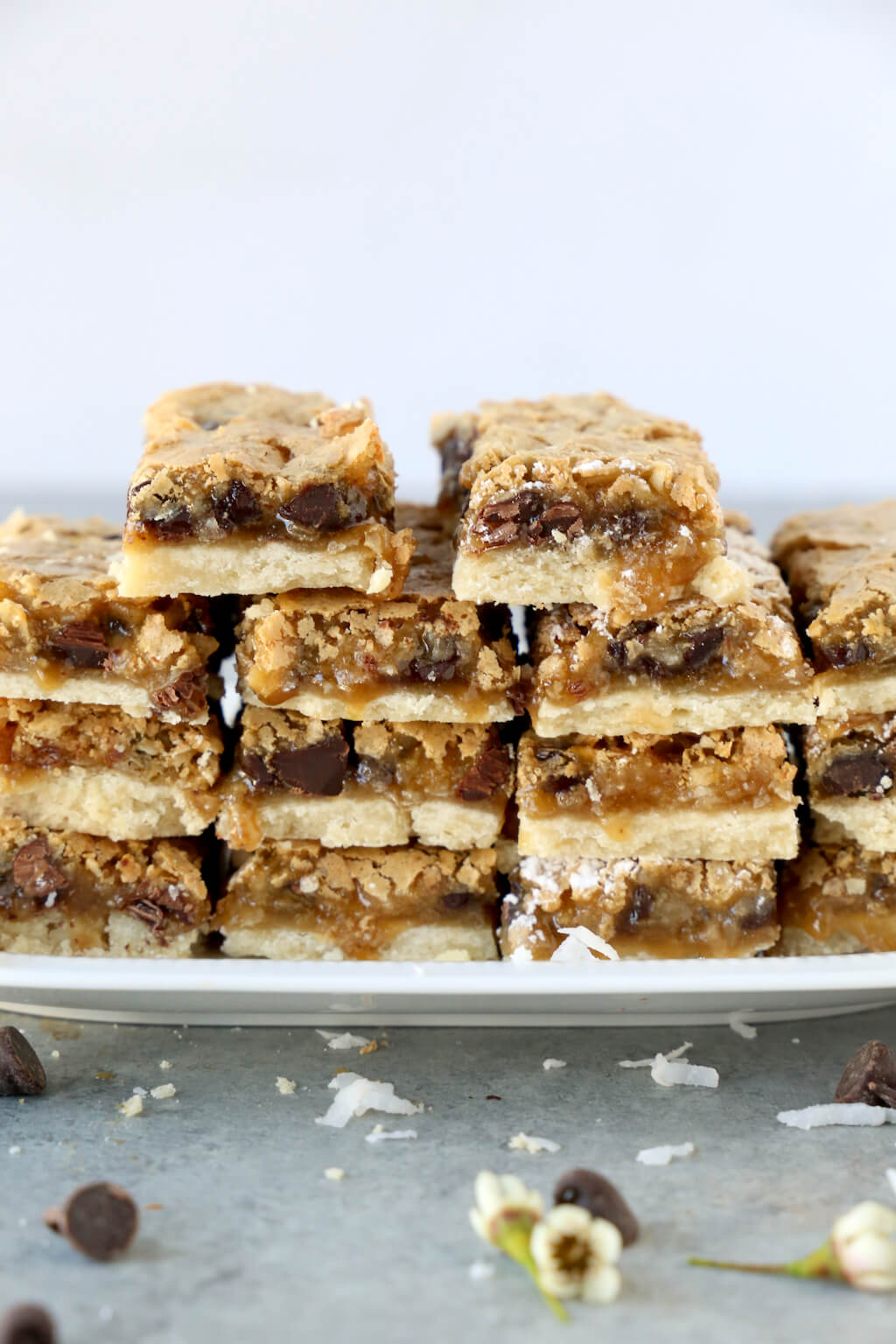 a stack of yum yum bars on a platter