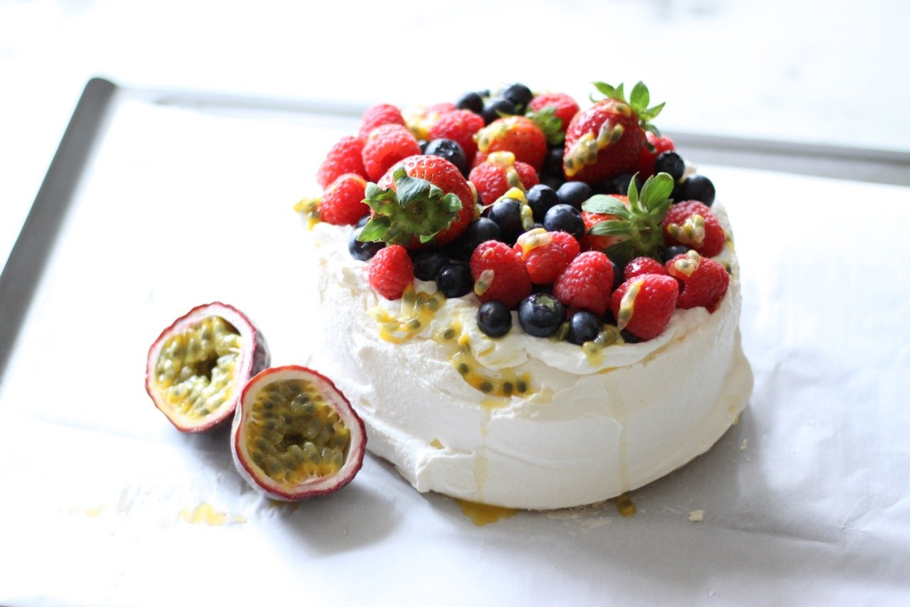 Berry Passion Fruit Pavlova