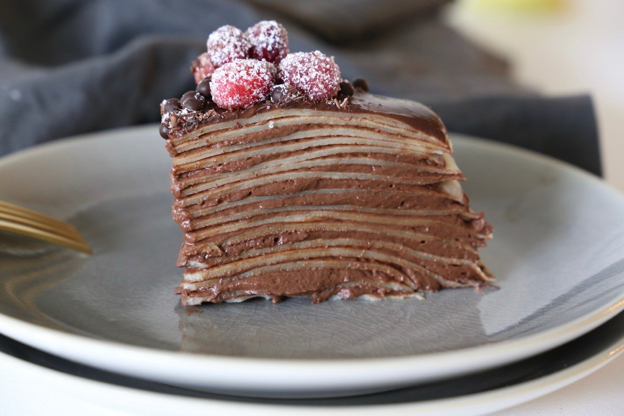 Chocolate Hazelnut Crepe Cake with Sugared Cranberries