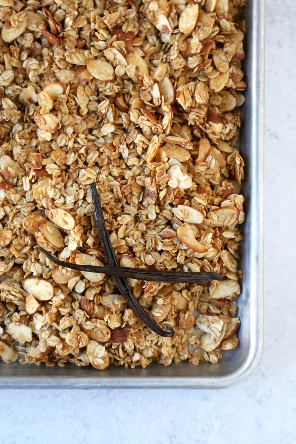 a sheet pan of granola drying