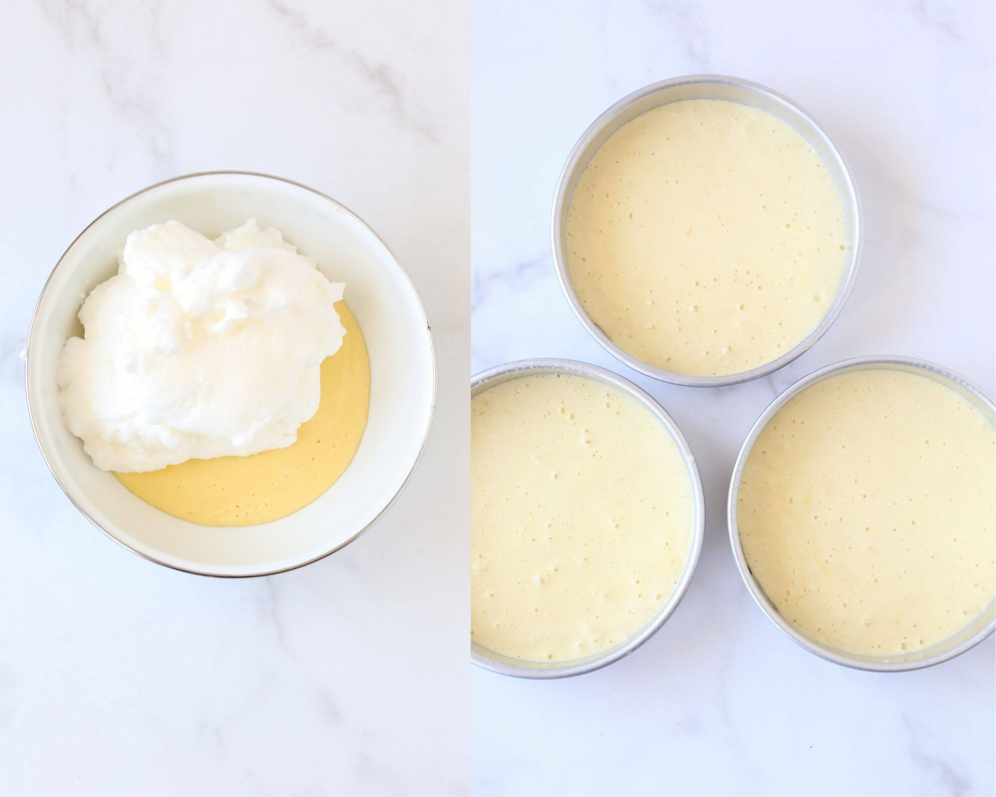 a bowl of egg yolks and egg white to prepare for a cake next to three cake pans filled with cake batter.