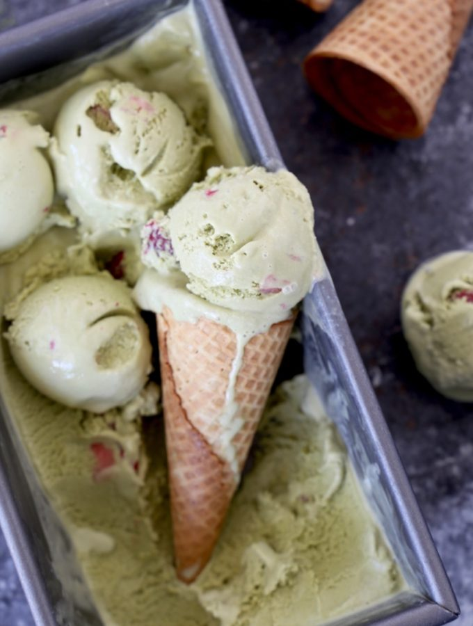 Matcha and Strawberry Ice Cream