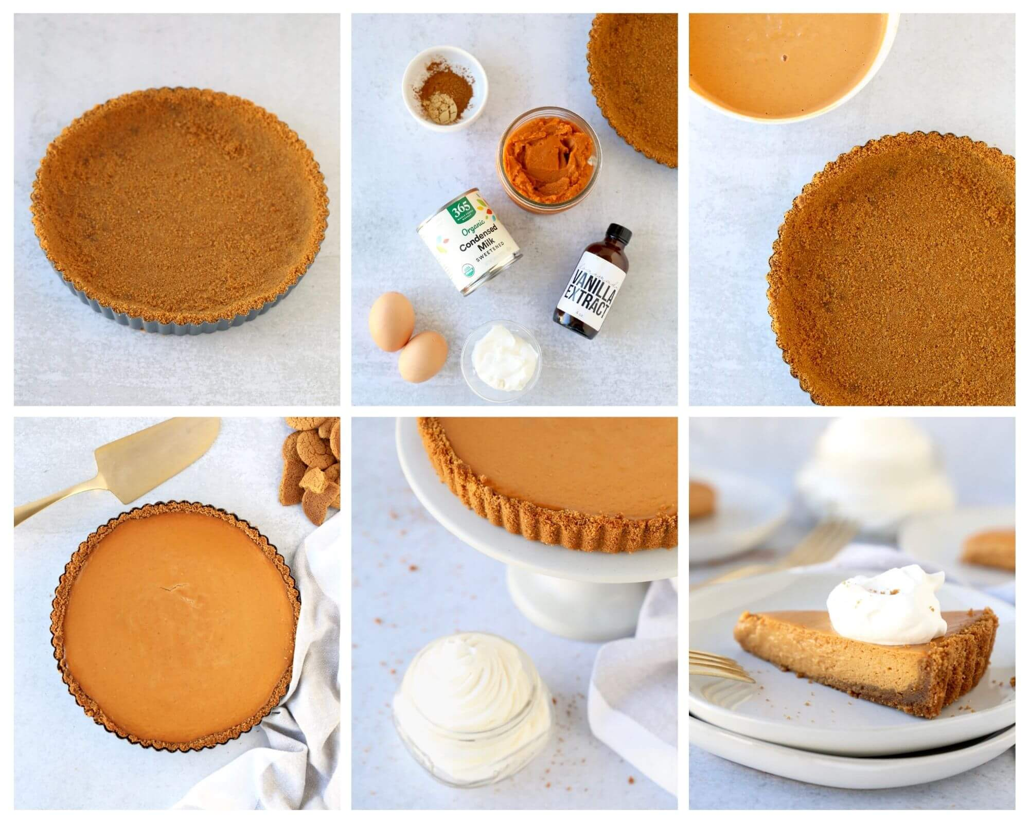 6 photos showing the step by step process of making the pumpkin gingersnap tart