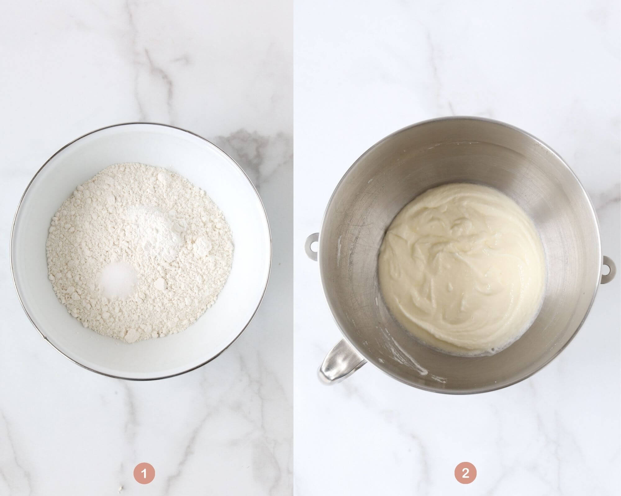 two pictures side by side showing the flour mixture and the next picture showing a mixing bowl with cake batter