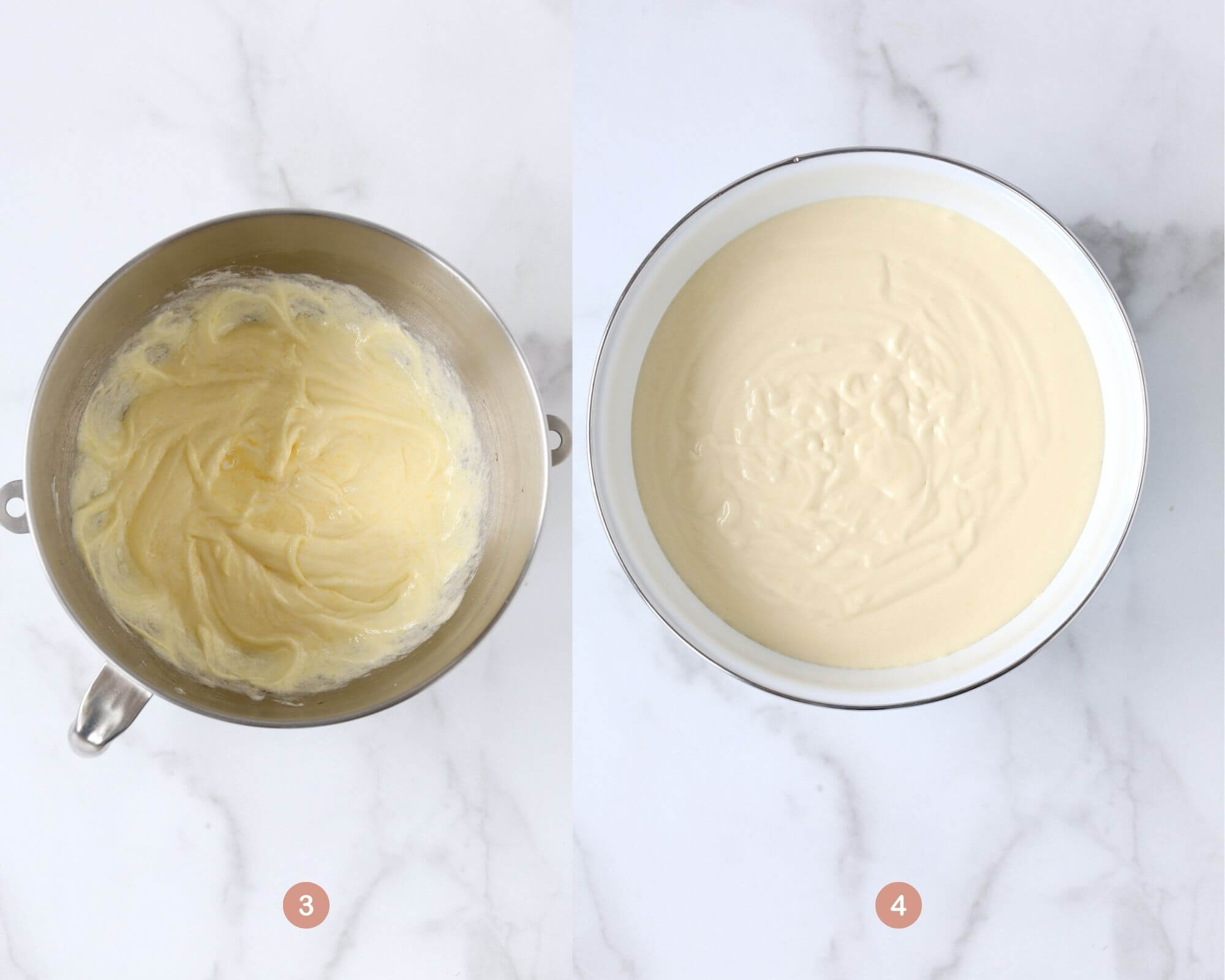 two bowls side by side, one showing the butter, oil, sugar and egg mixture and the other bowl showing the completed cake batter.