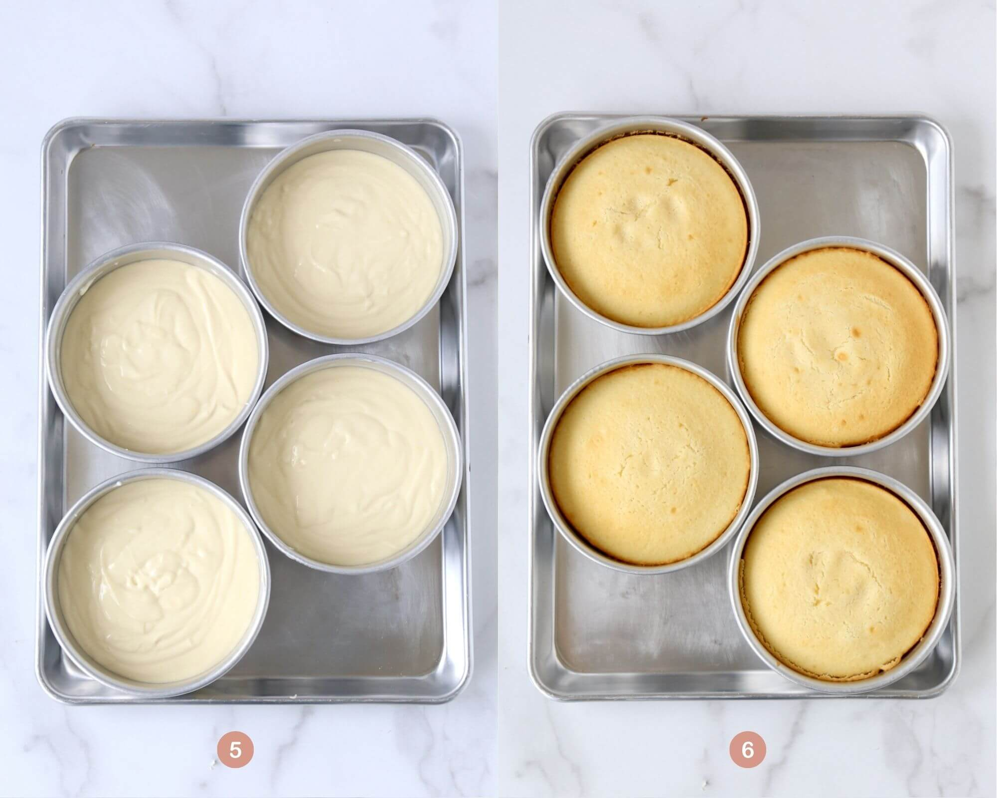 Two photos side by side with one showing cake pans with the cake batter and the other photo showing cake pans with baked cakes.