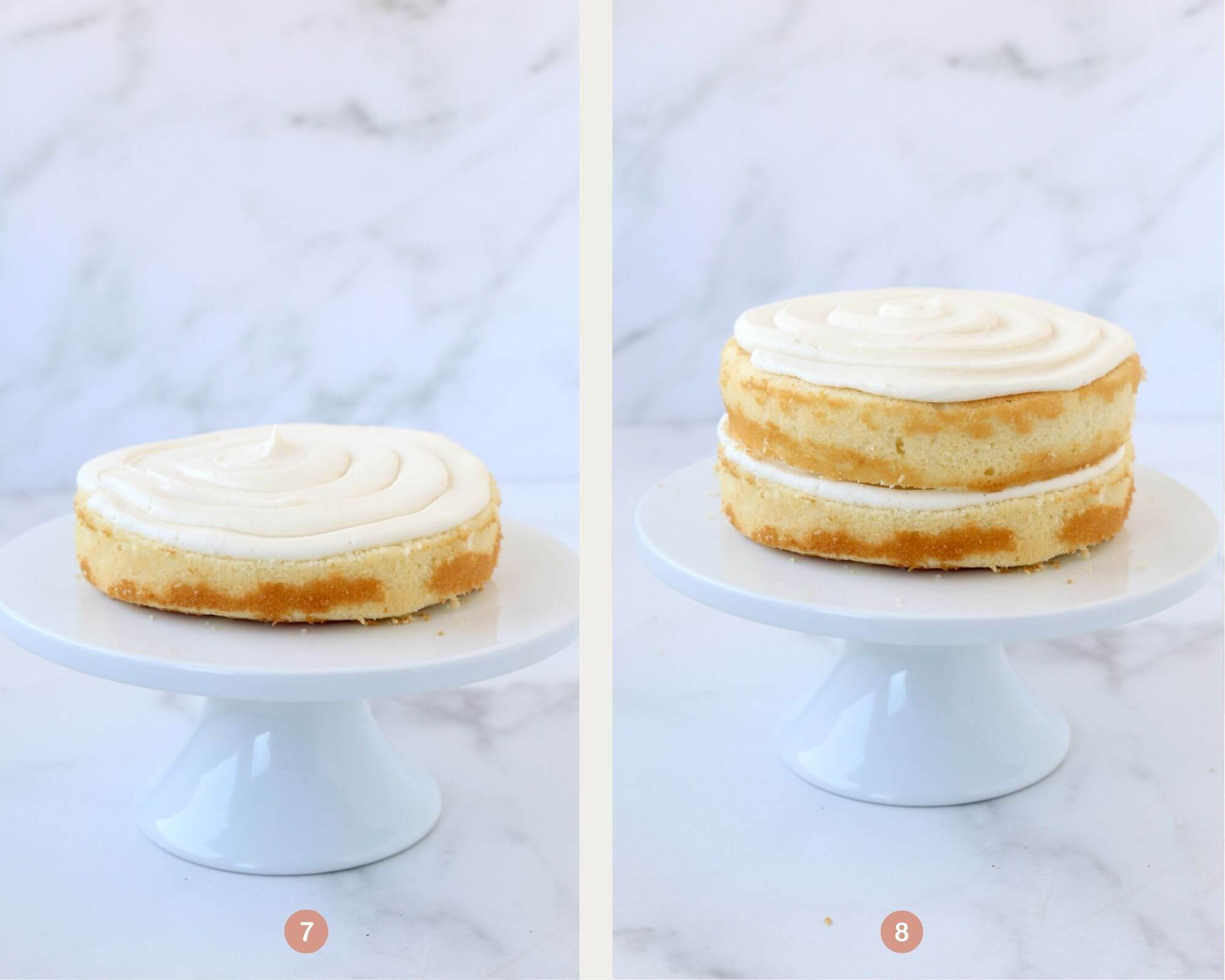 one cake layer with frosting next to two cake layers with frosting.