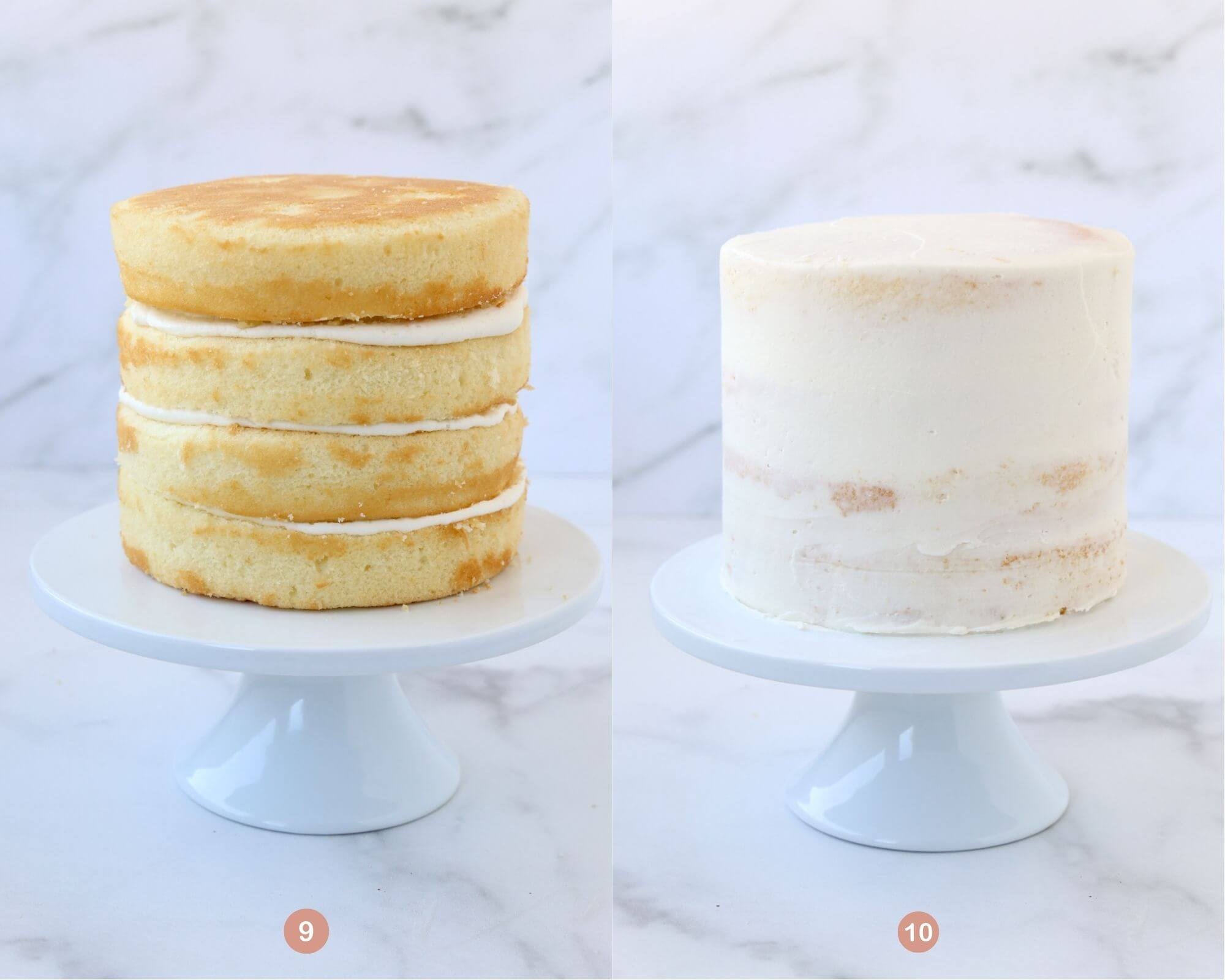 one photo of a four layer cake with not frosting on the outside and another photo of a four layer cake with a crumb coating.