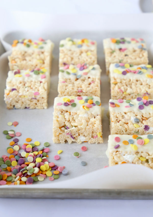 Funfetti White Chocolate Rice Krispie Treats