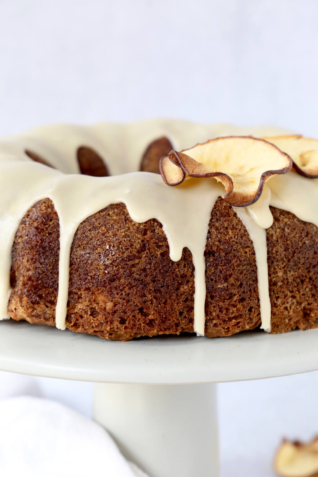 close up of apple spice bundt cake with dried apple slices