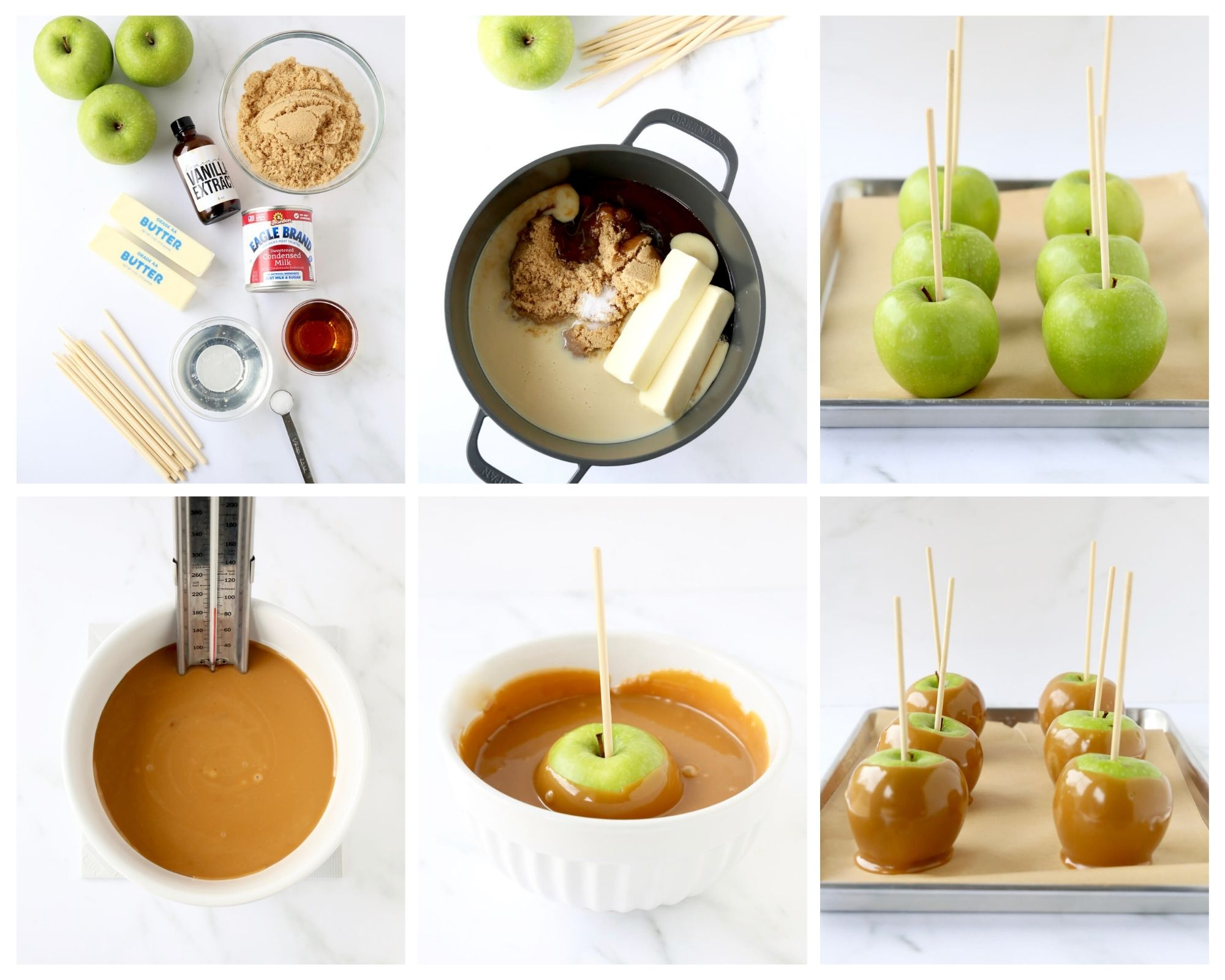 6 photos showing the step by step process of making caramel apples