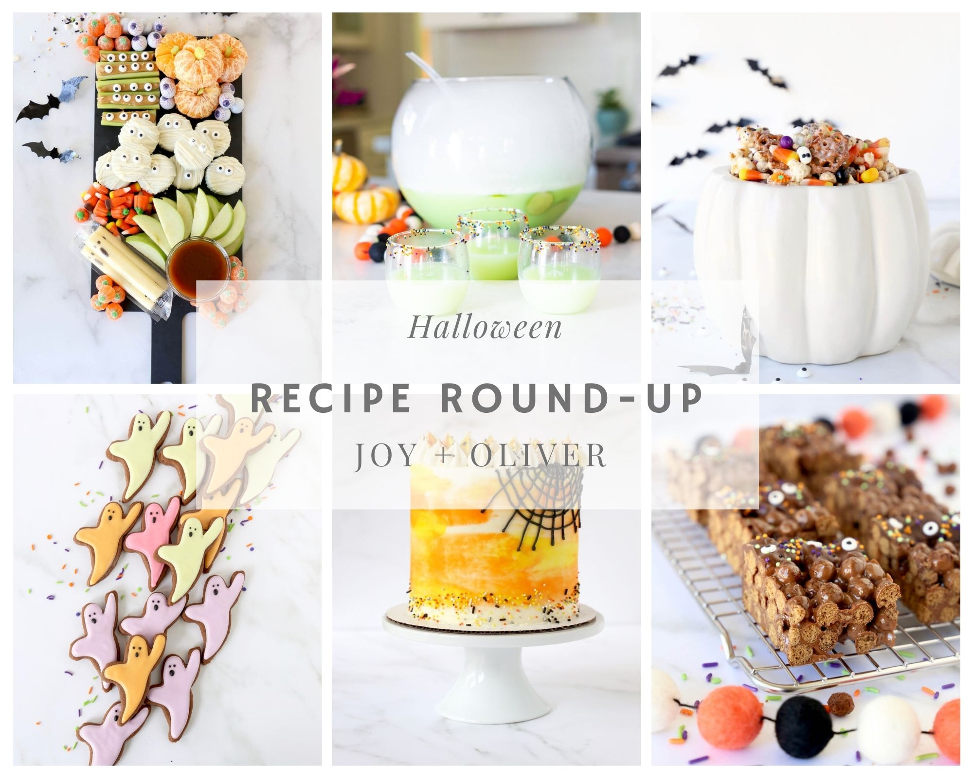 a collage of six halloween recipes