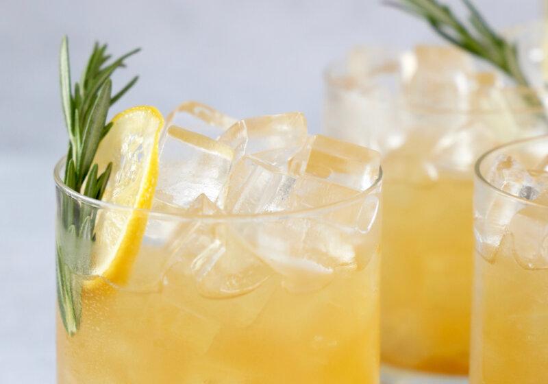 close up photo of maple bourbon sour cocktail