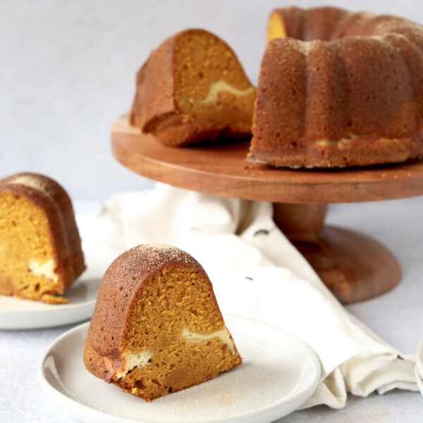 slice of pumpkin bundt cake