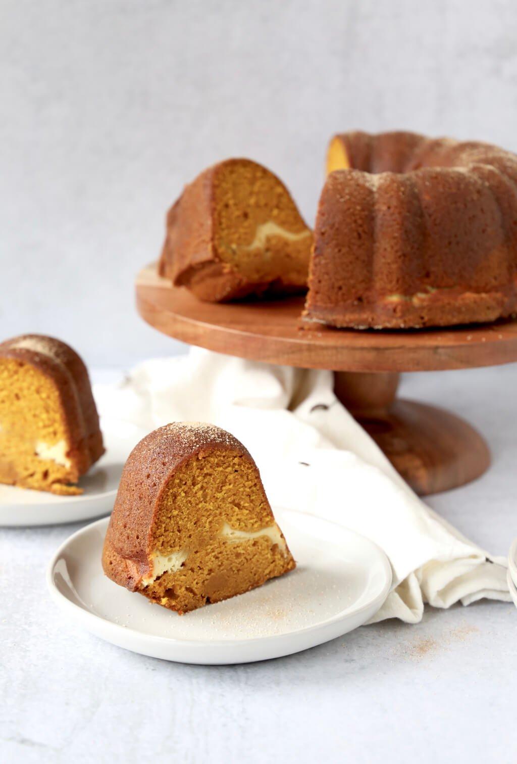 slice of pumpkin bundt cake