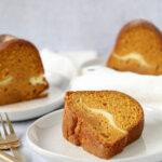 slice of pumpkin cream cheese bundt cake