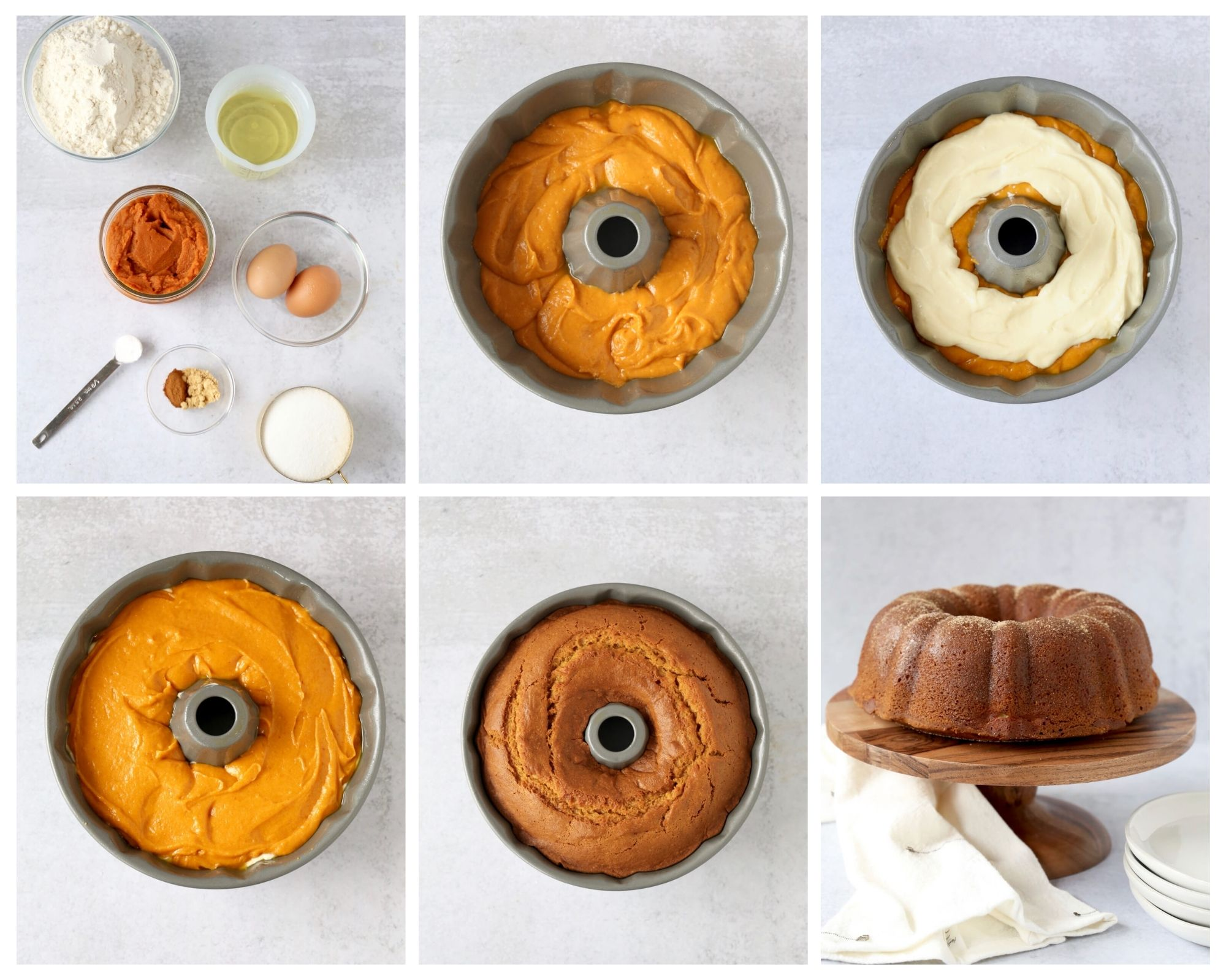 6 photos showing the pumpkin cream cheese bundt cake being made step by step