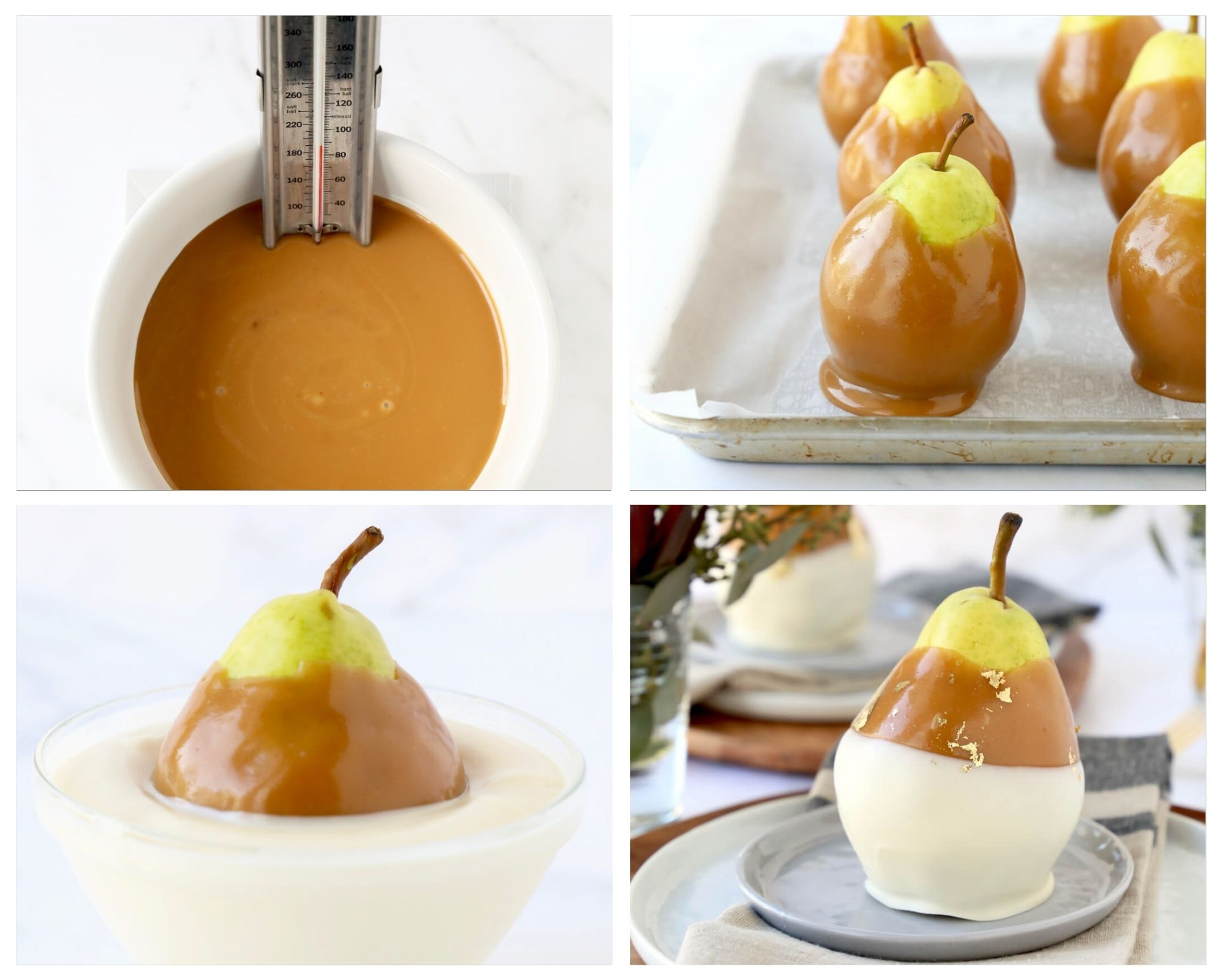 the process of dipping pears in caramel with the caramel sauce, pears dipped in caramel, pears dipped in white chocolate and pears on the table with pacesetting