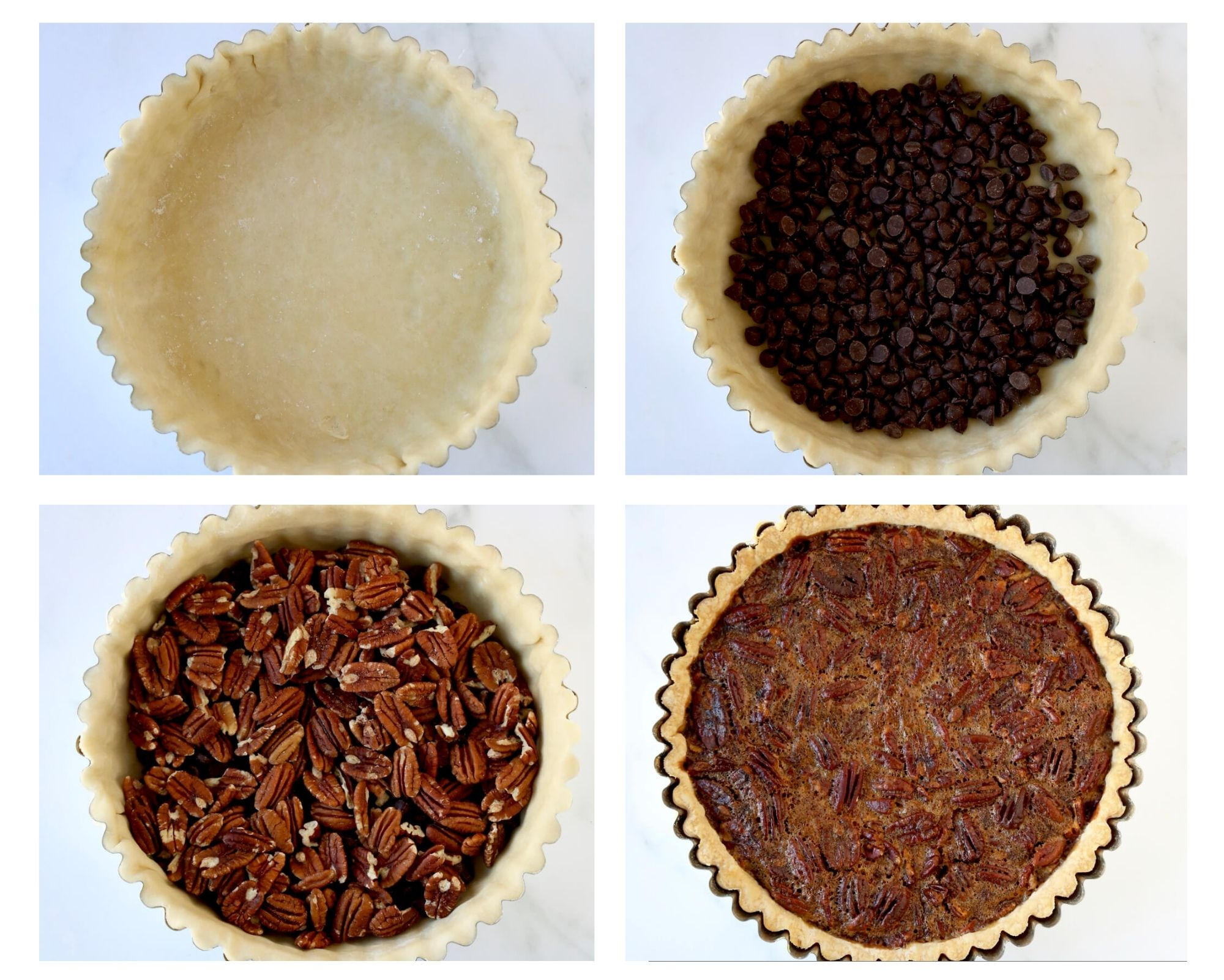 four images showing the process to make a pecan tart. First the crust in a tart shell, second the crust filled with chocolate chips, third the crust is filled with pecans and fourth the pecan tart is baked