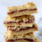 a stack of 4 jam shortbread bars