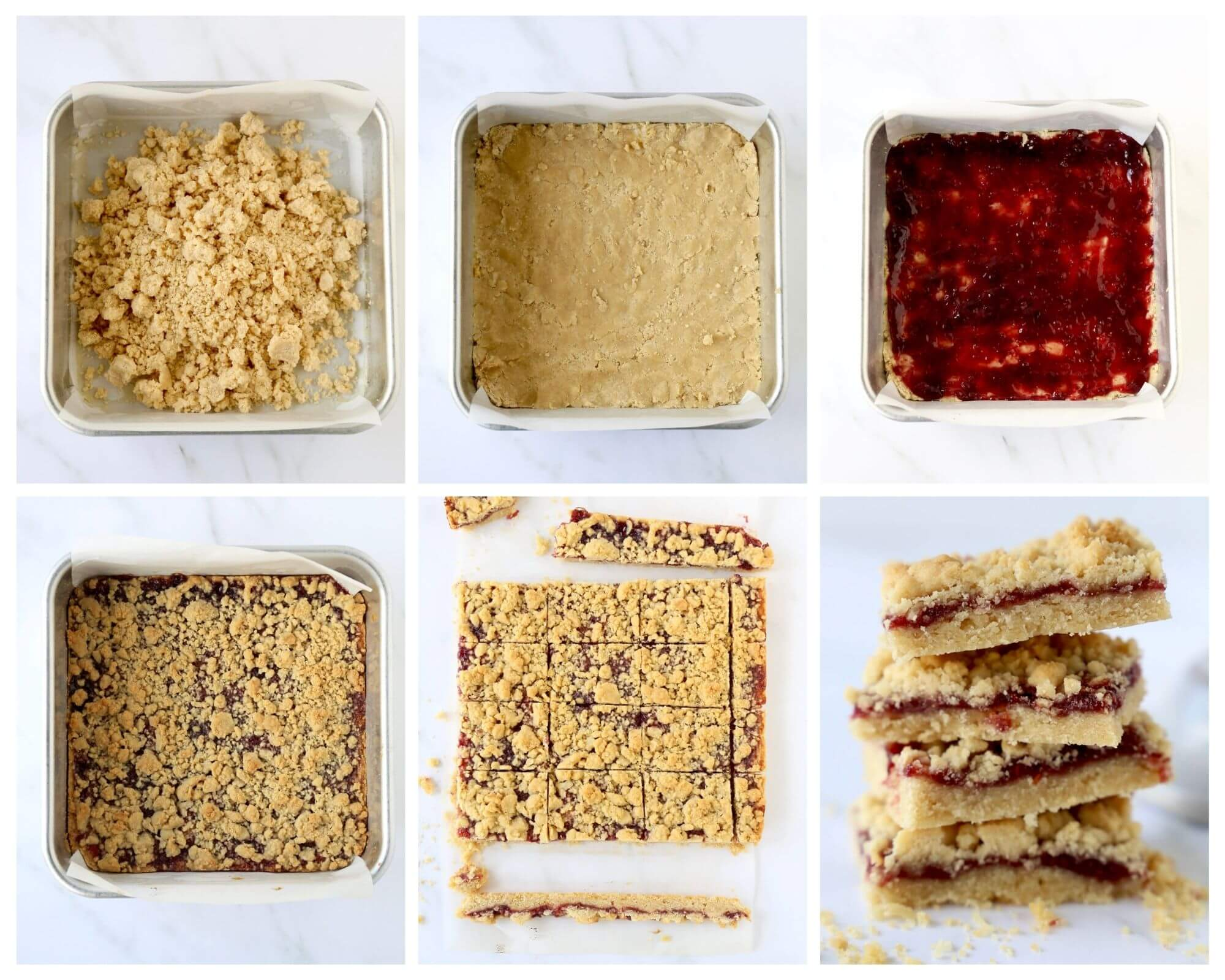 six squares showing the process of how to make jam shortbread bars