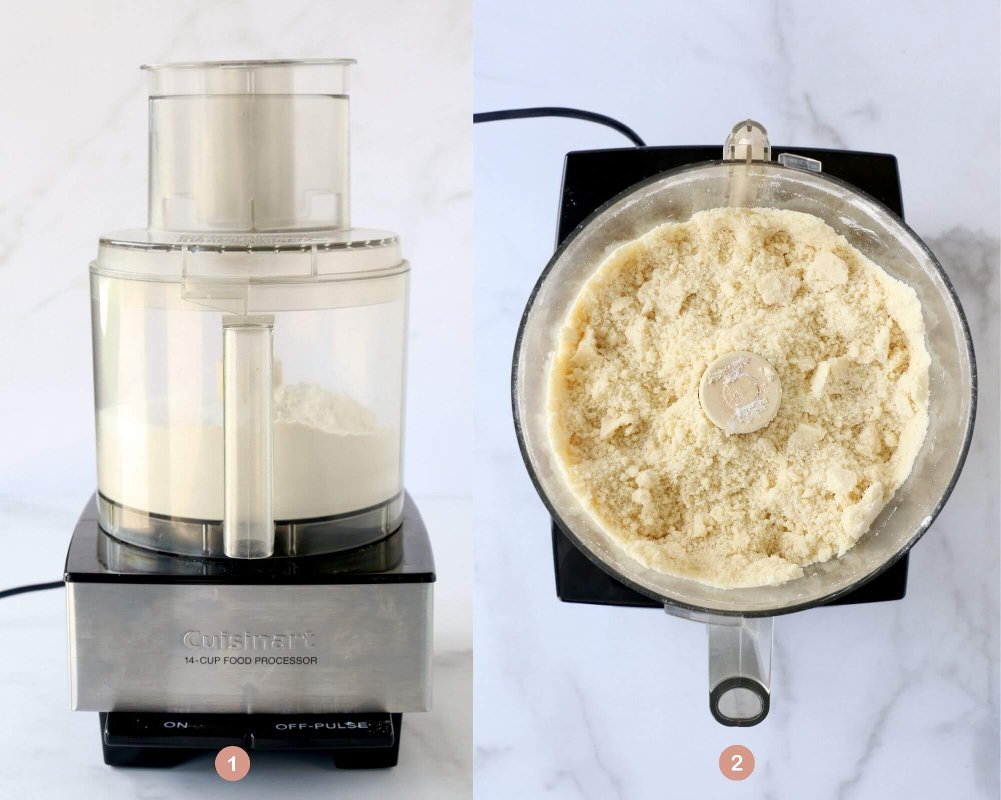 a food processor with flour, sugar and salt next to a food processor that butter has been added.