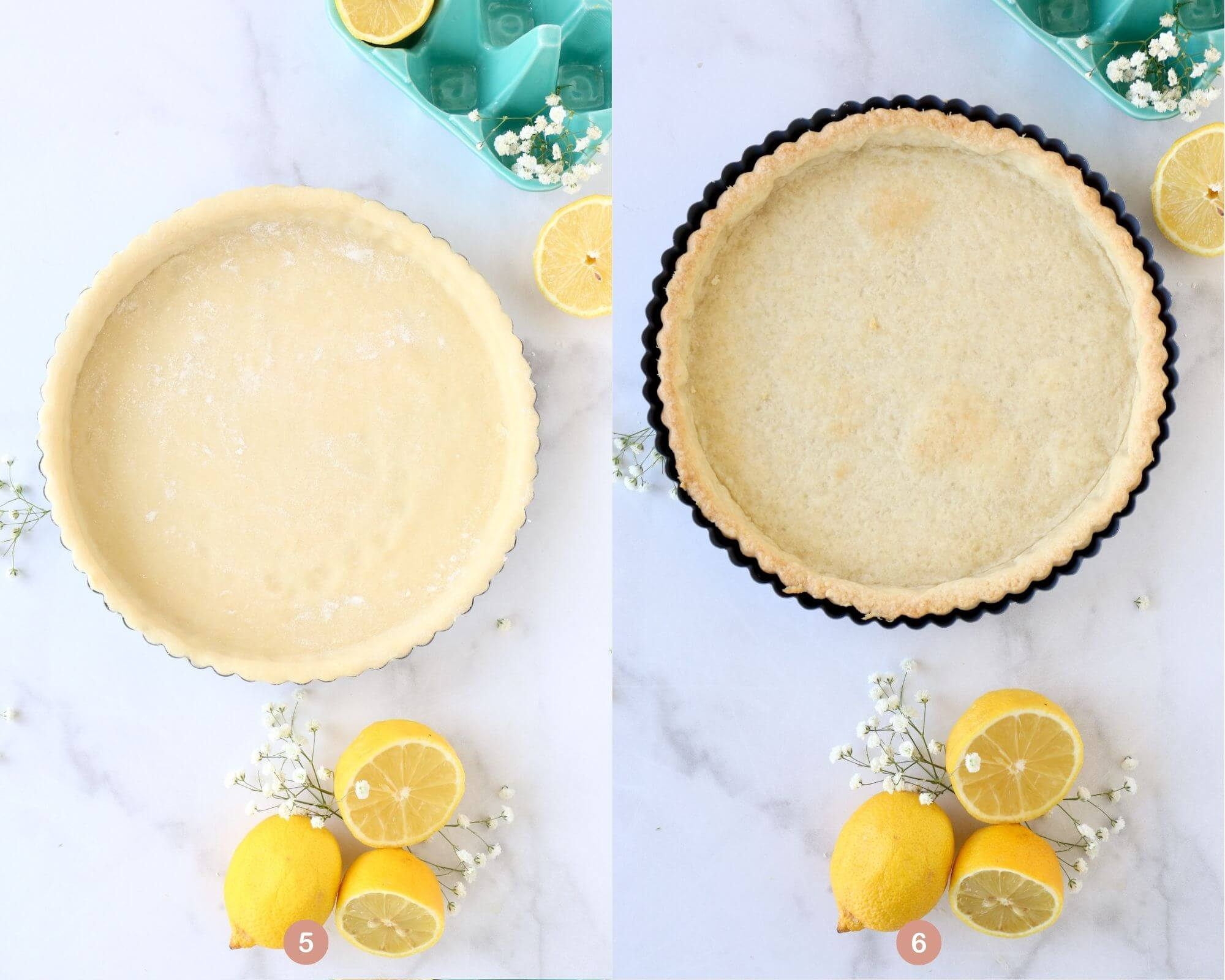 a tart shell with raw dough next to a tart shell with baked dough.