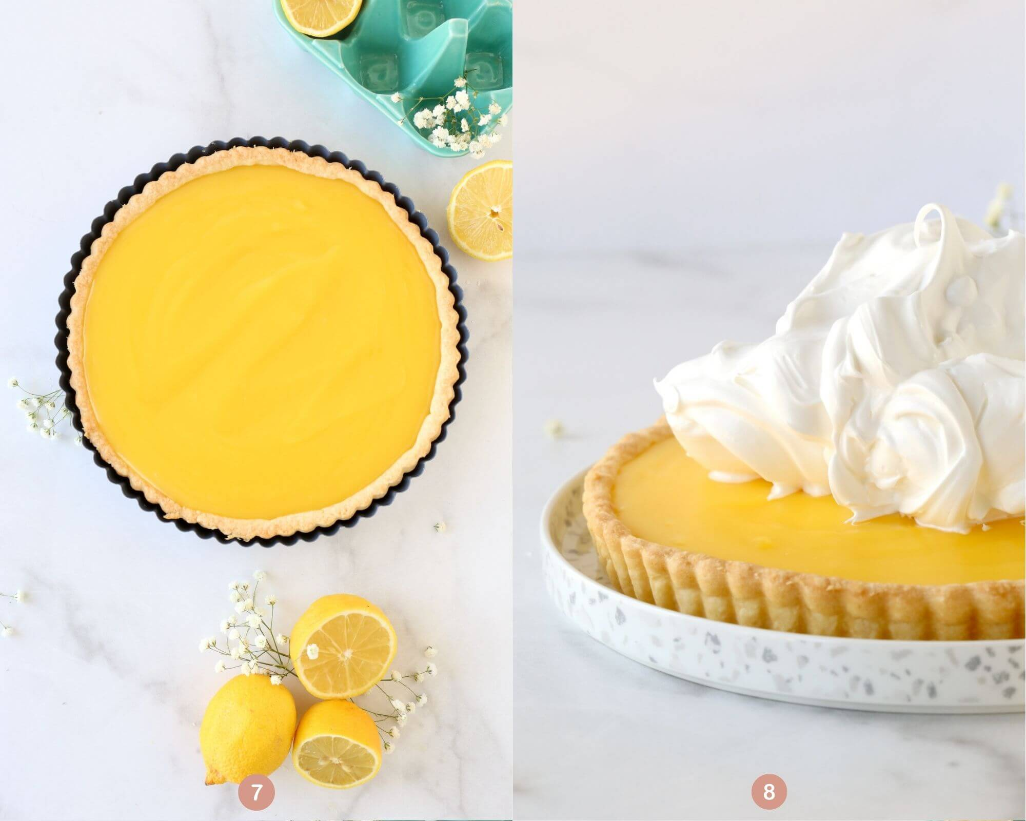 the tart shell filled with lemon curd next to the lemon tart topped with meringue.