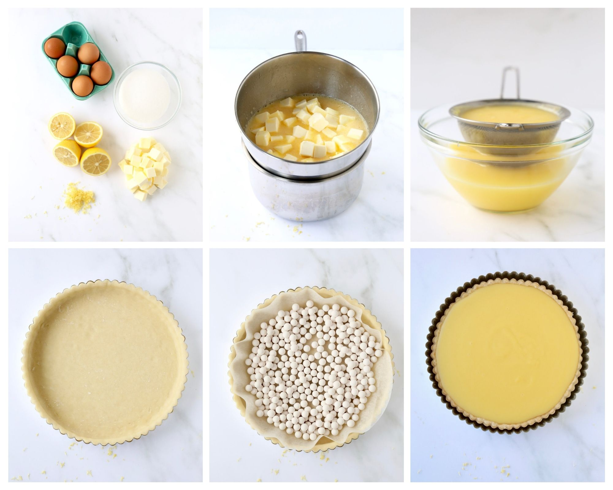 six step process of how to make a lemon tart starting with the ingredients, the tart shell and filling the tart with lemon curd