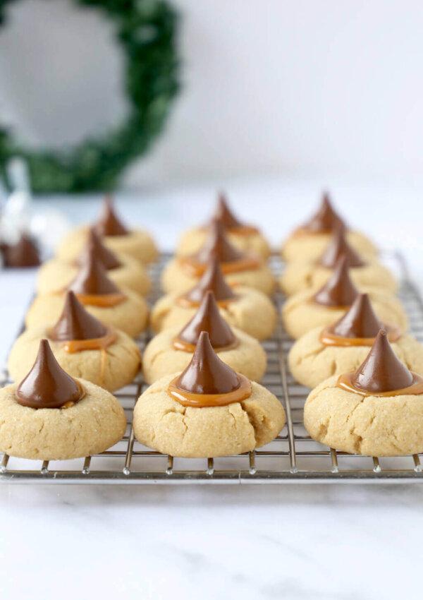 Caramel Peanut Butter Blossom Cookies