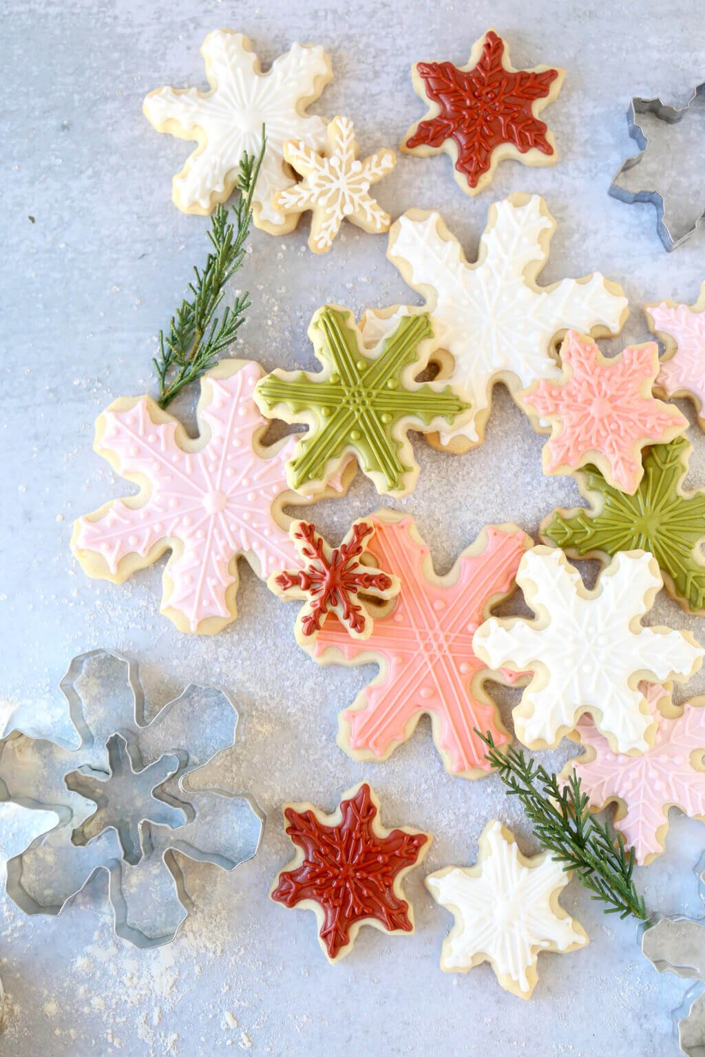 stacked iced snowflake cookies
