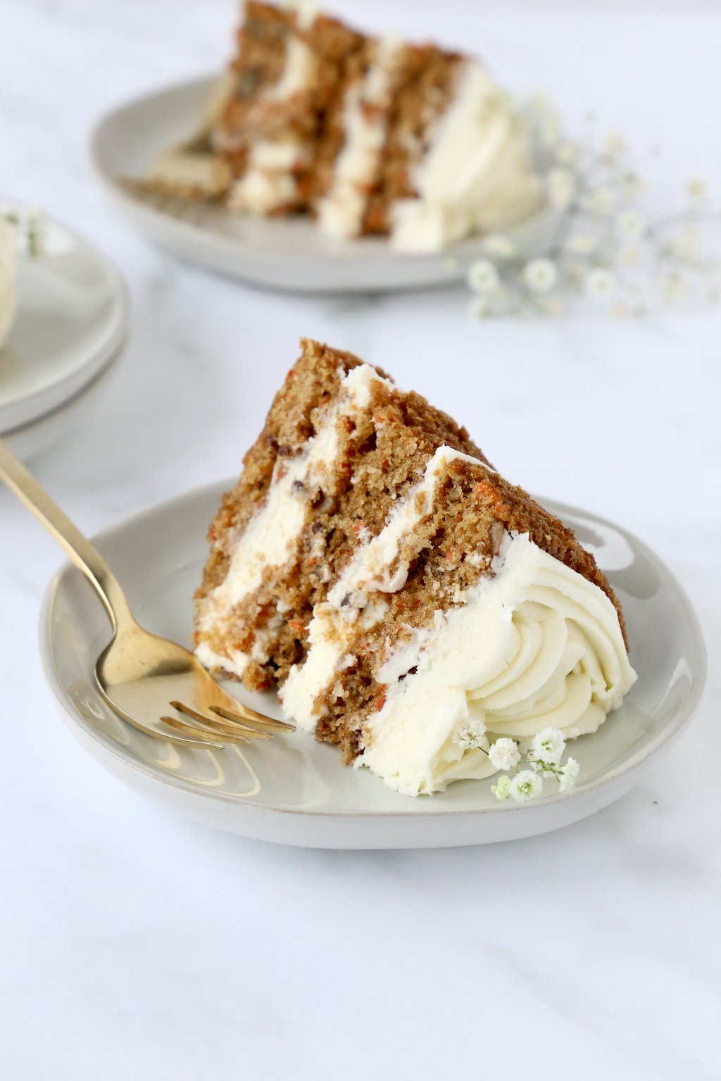 a slice of cake on a plate with a fork