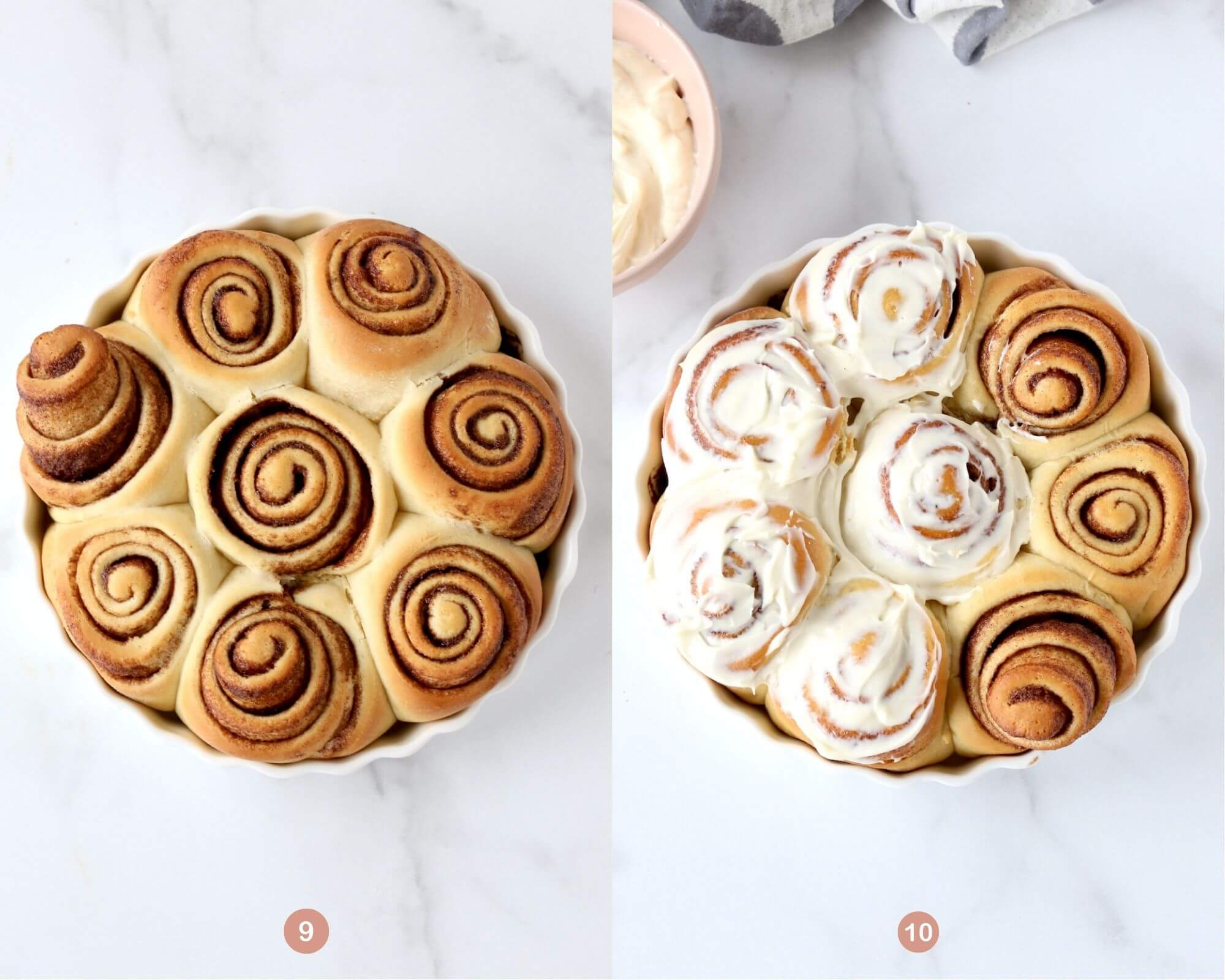 baked cinnamon rolls and cinnamon rolls with cream cheese spread on top