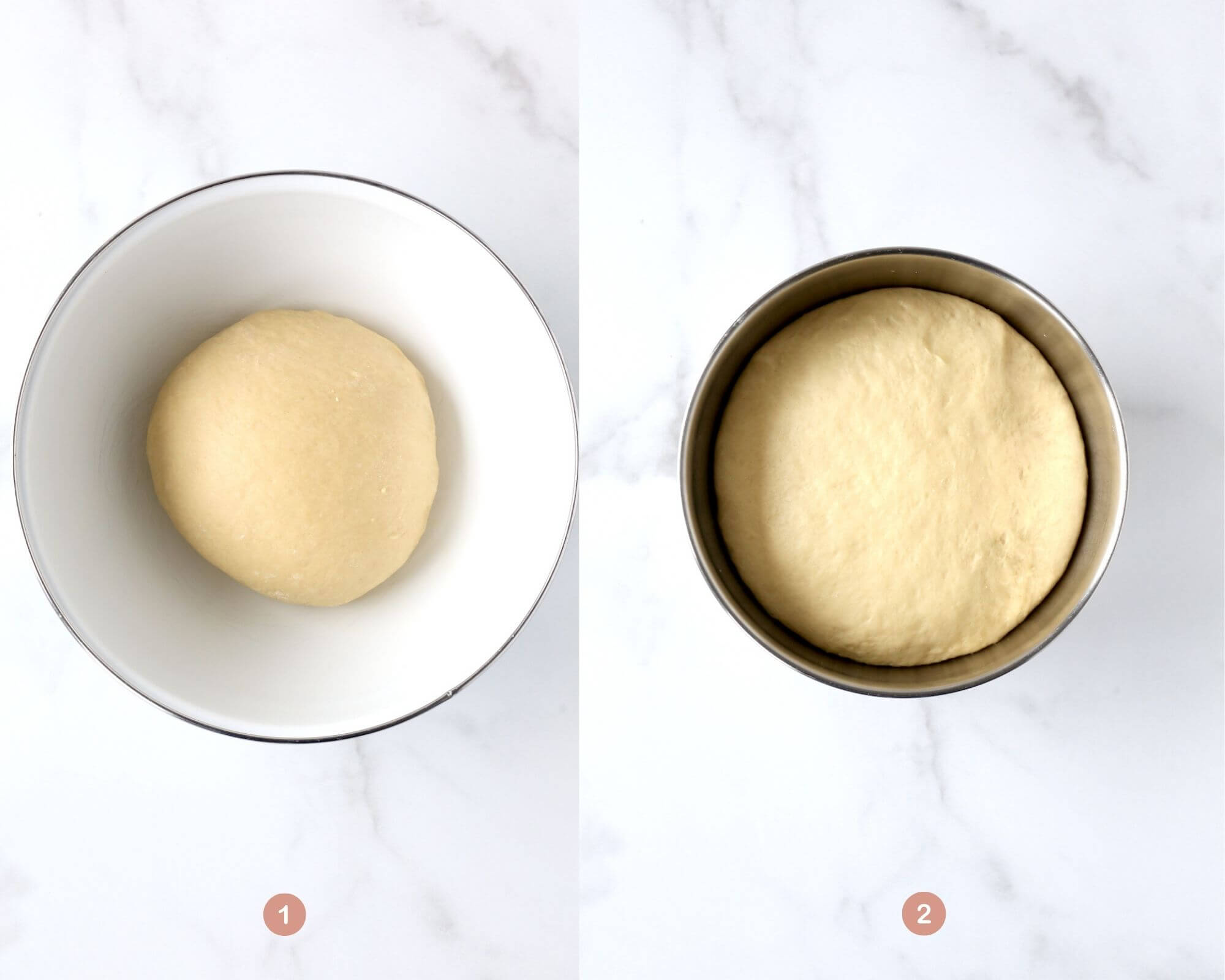dough proofing in a bowl and dough after being proofed for an hour