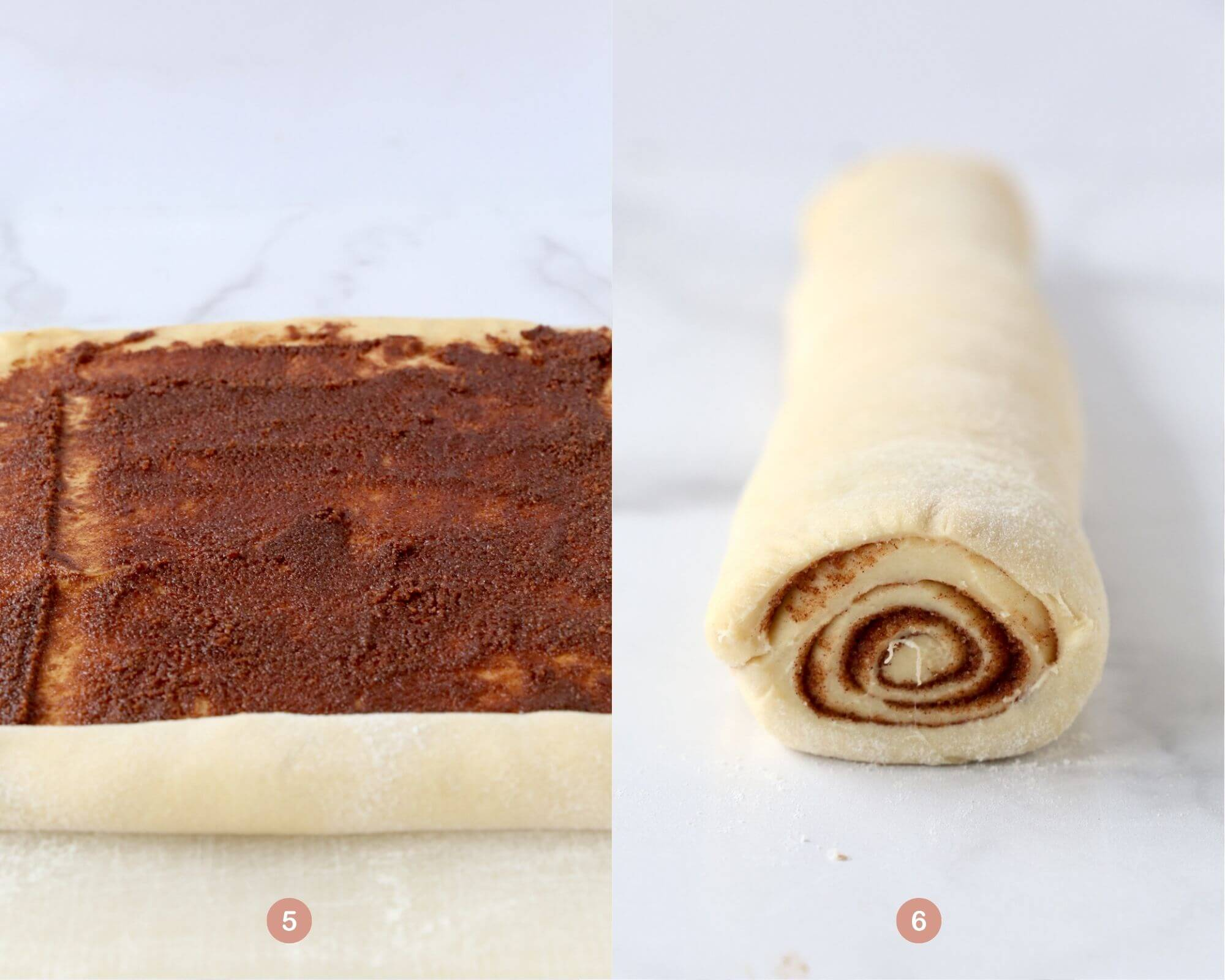 the cinnamon sugar filling spread on the dough and the dough rolled up into a log