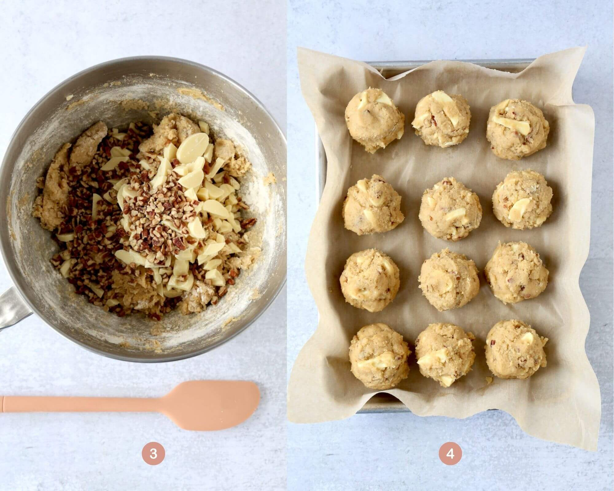 a bowl of cookie dough with pecans and white chocolate chips next to a tray of cookie dough balls