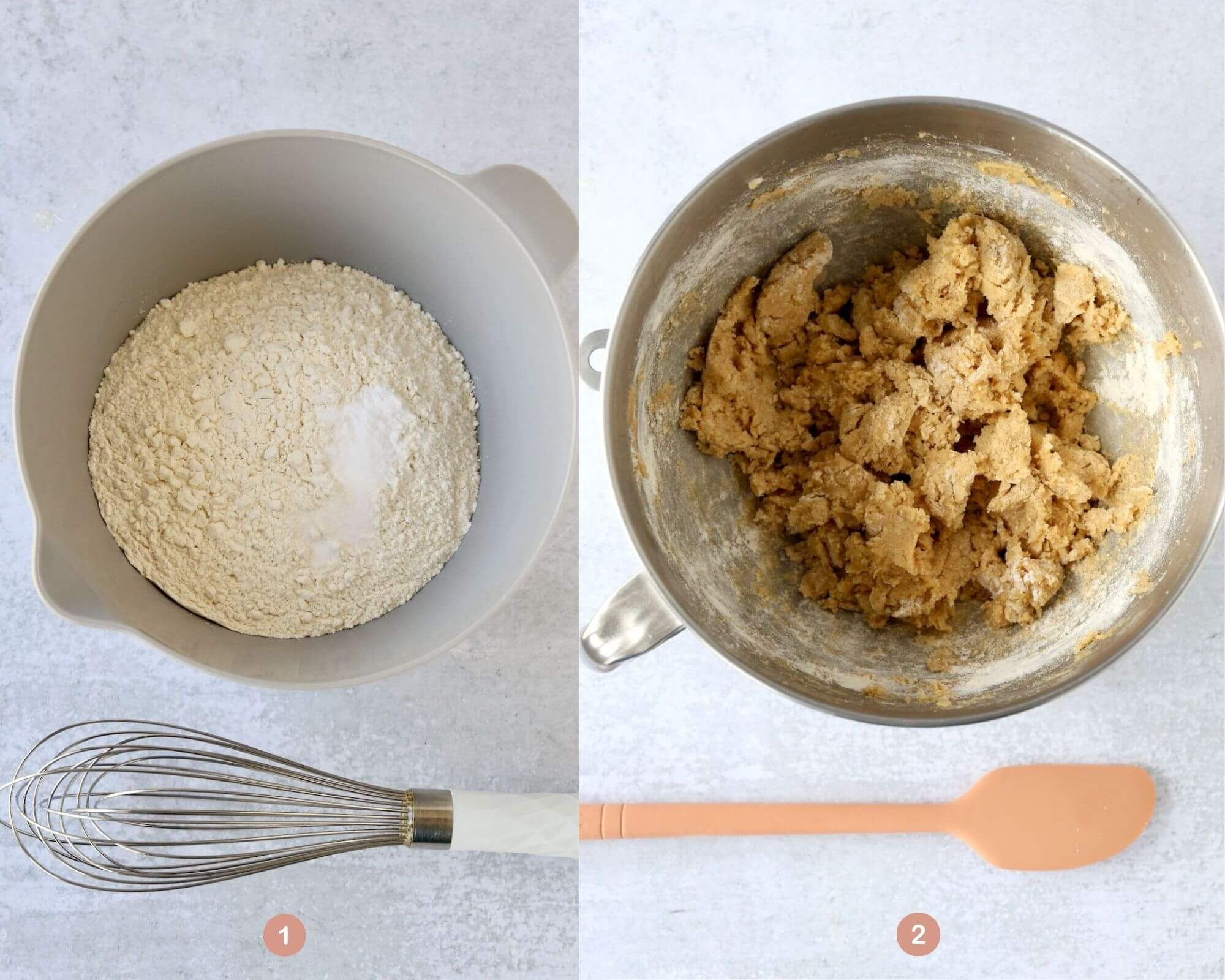 a bowl of flour, baking soda and salt, next to a bowl of mixed cookie batter