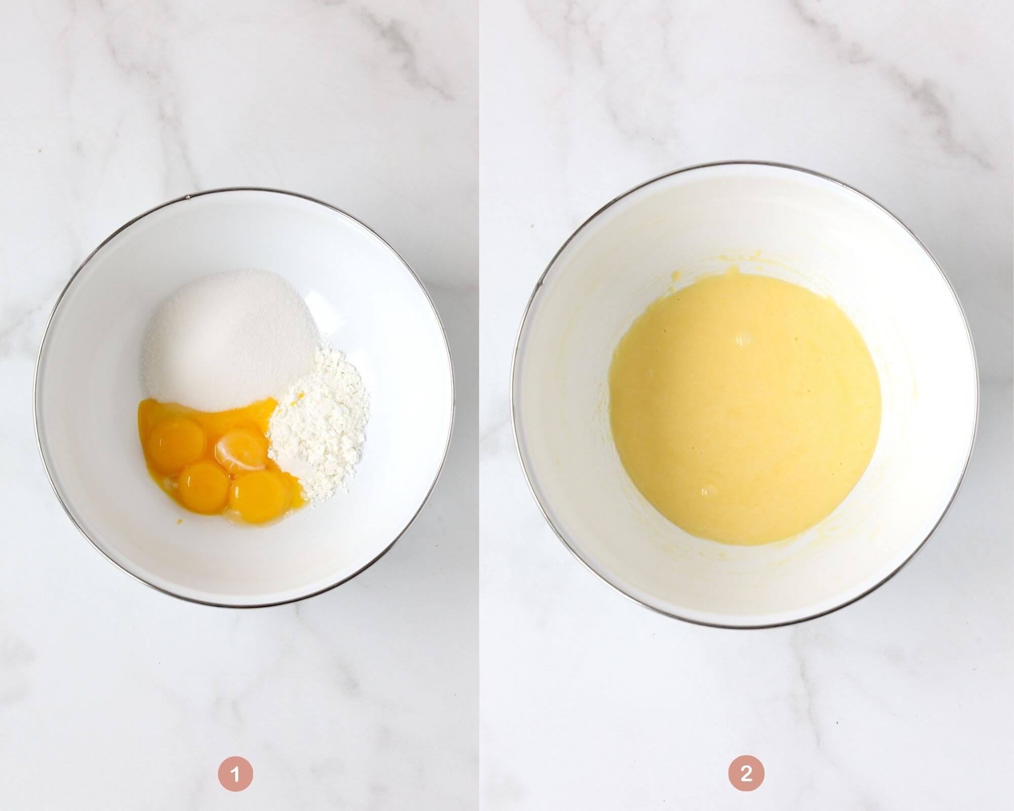 a bowl with egg yolks, sugar and cornstarch next to a bowl that has mixed up ingredients.