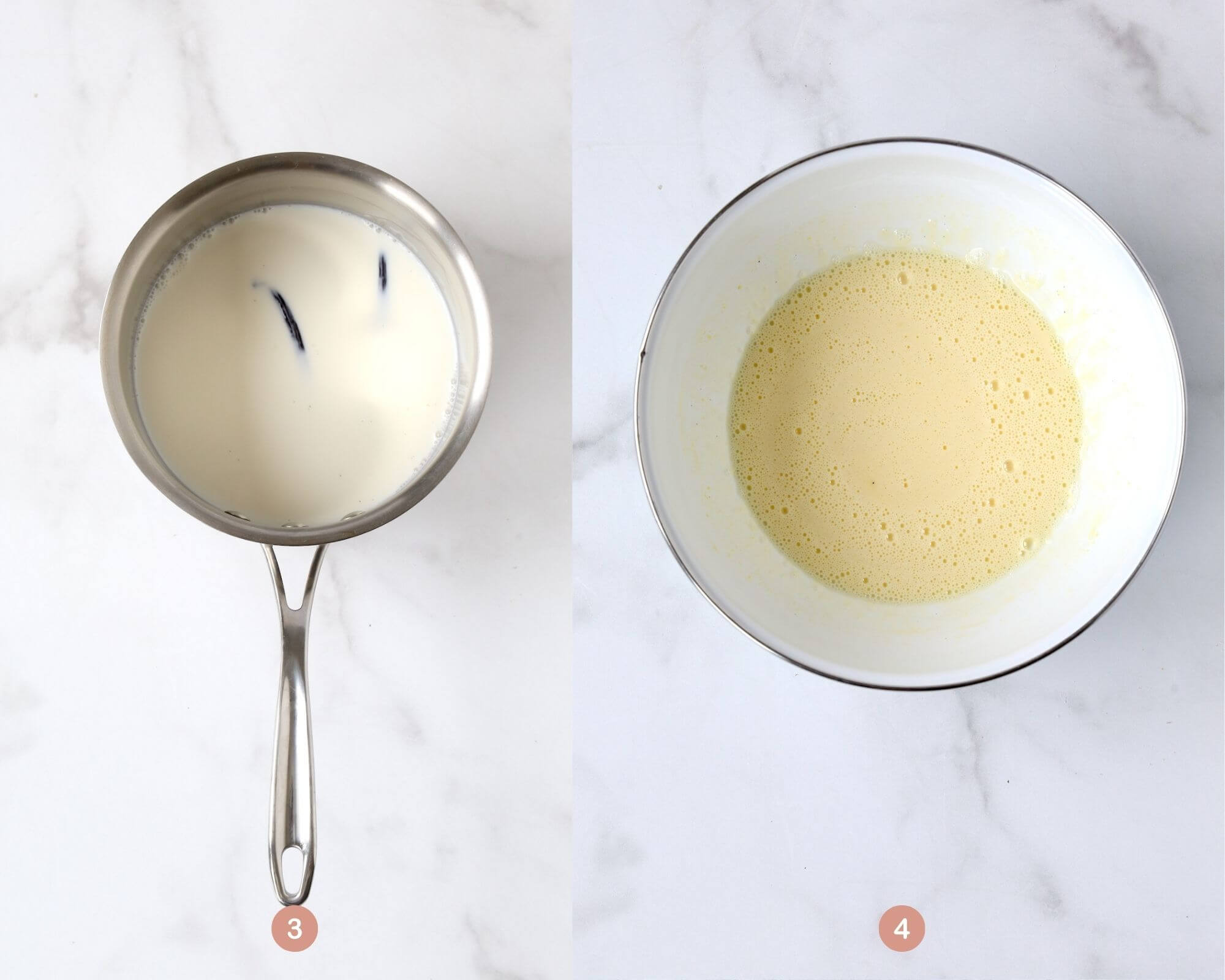 a saucepan with milk and vanilla bean next to a bowl that the heavy cream and egg yolks have been mixed up.