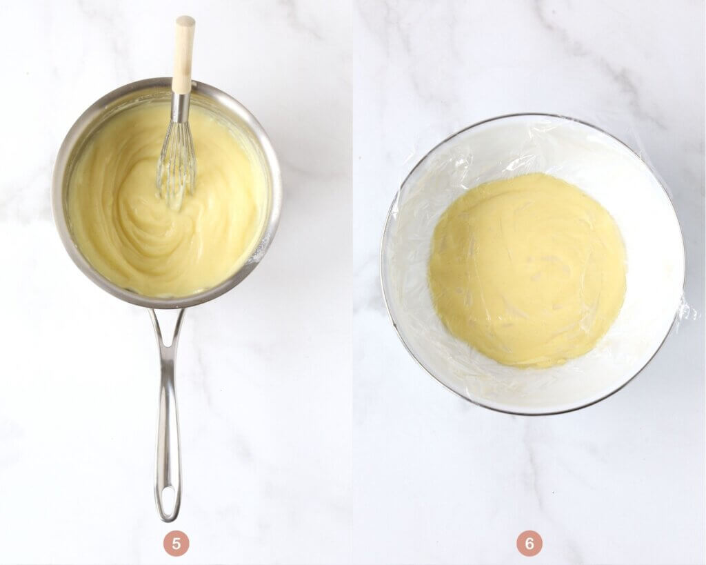 a sauce pan with finished vanilla pudding and a whisk next to a bowl of cooling vanilla pudding with plastic wrap on top.