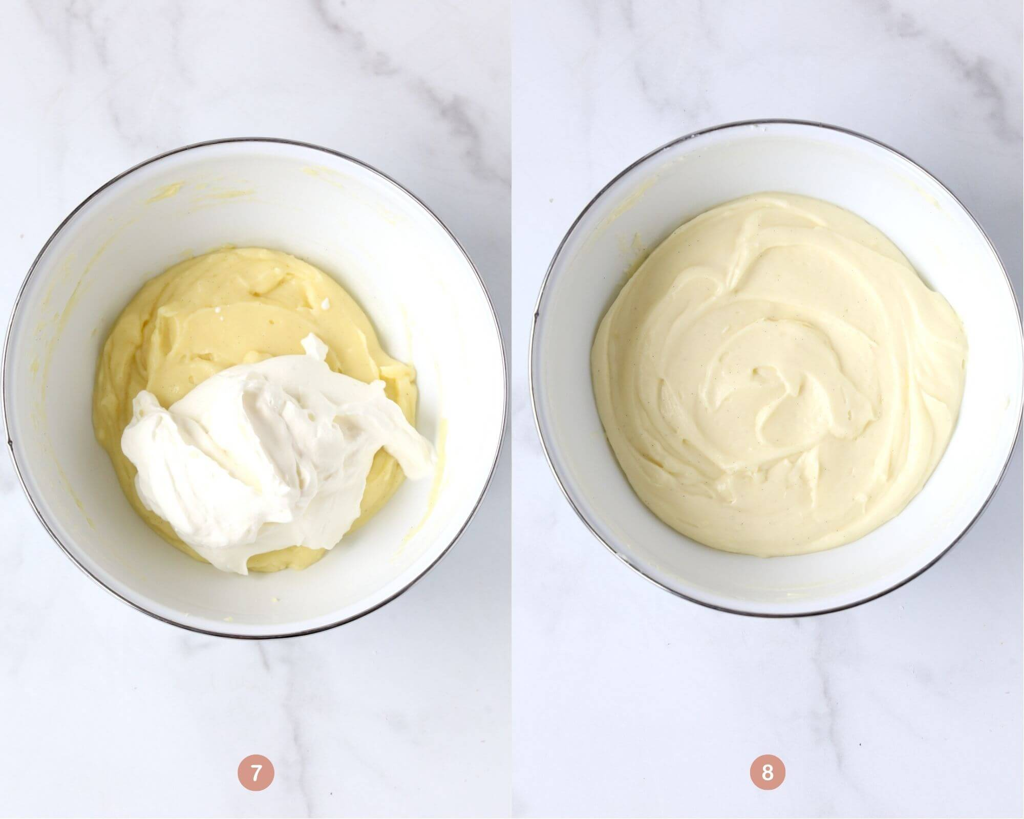 a bowl of vanilla pudding with whipped cream on top next to a bowl with the finished product.