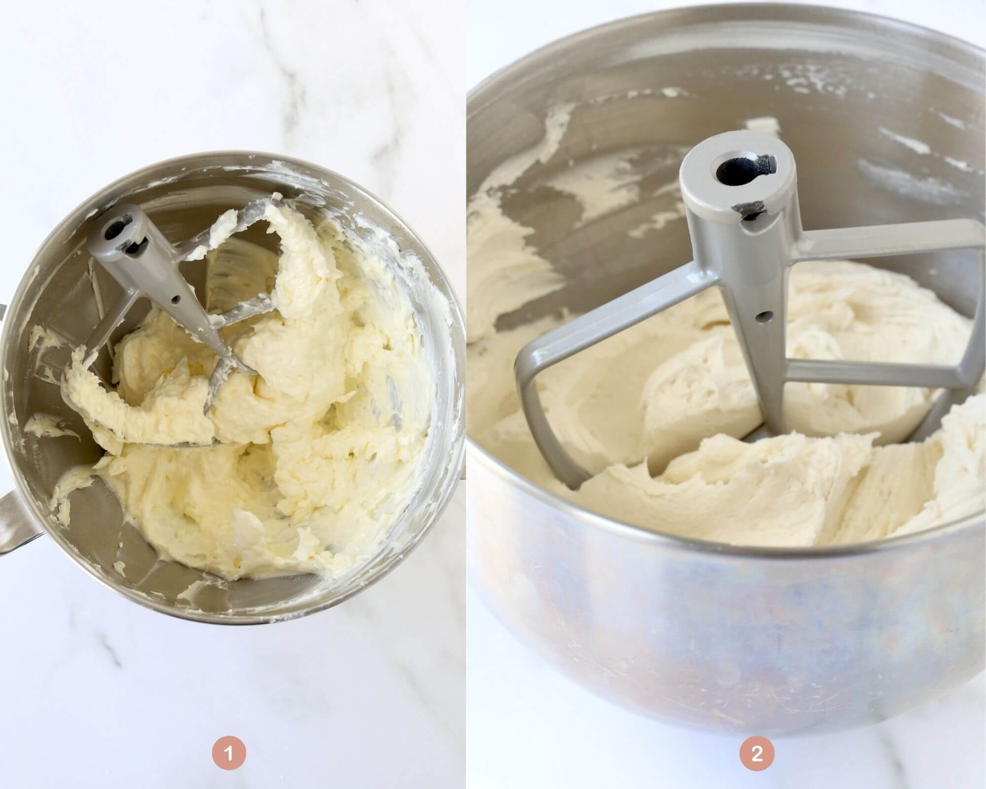 a mixing bowl with creamed butter and shortening next to a mixing bowl with the finished white frosting.