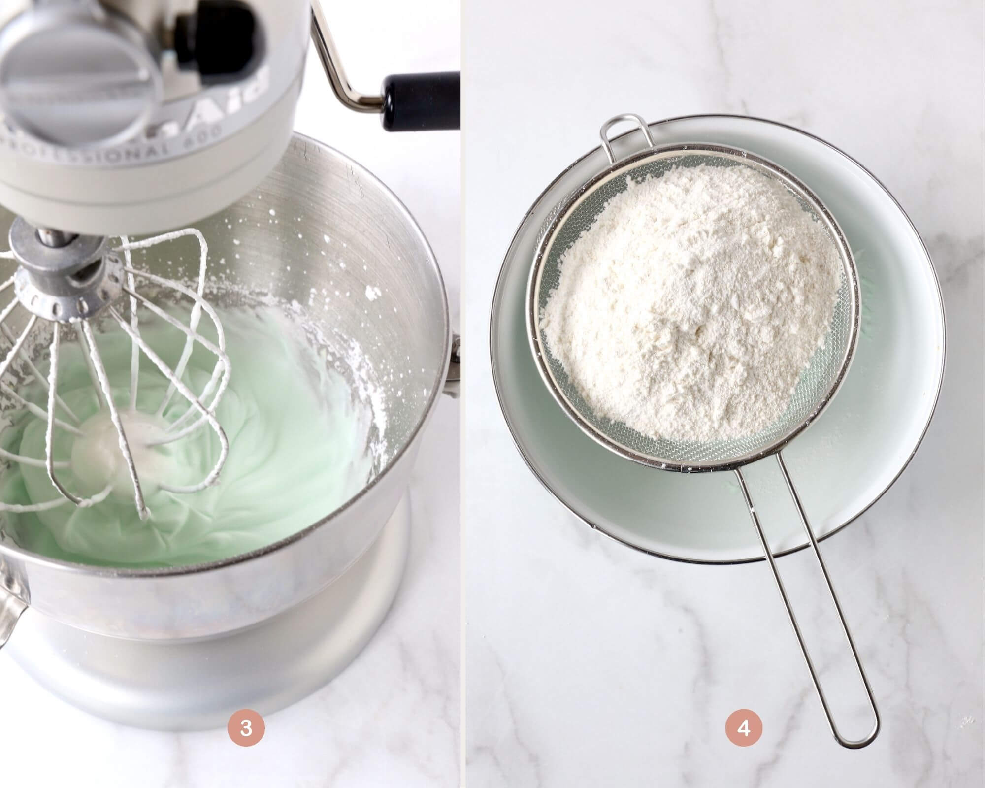 a mixer with meringue with green food coloring next to a bowl with a sifter of powdered sugar and almond flour.