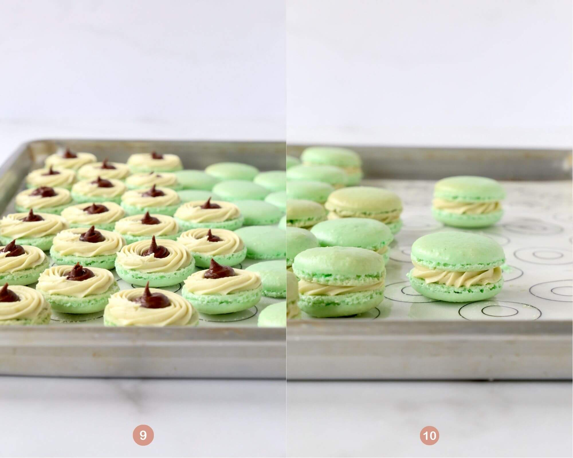 A sheet pan of macarons filled with pistachio buttercream and chocolate ganache next to a sheet pan of macarons sandwiched.