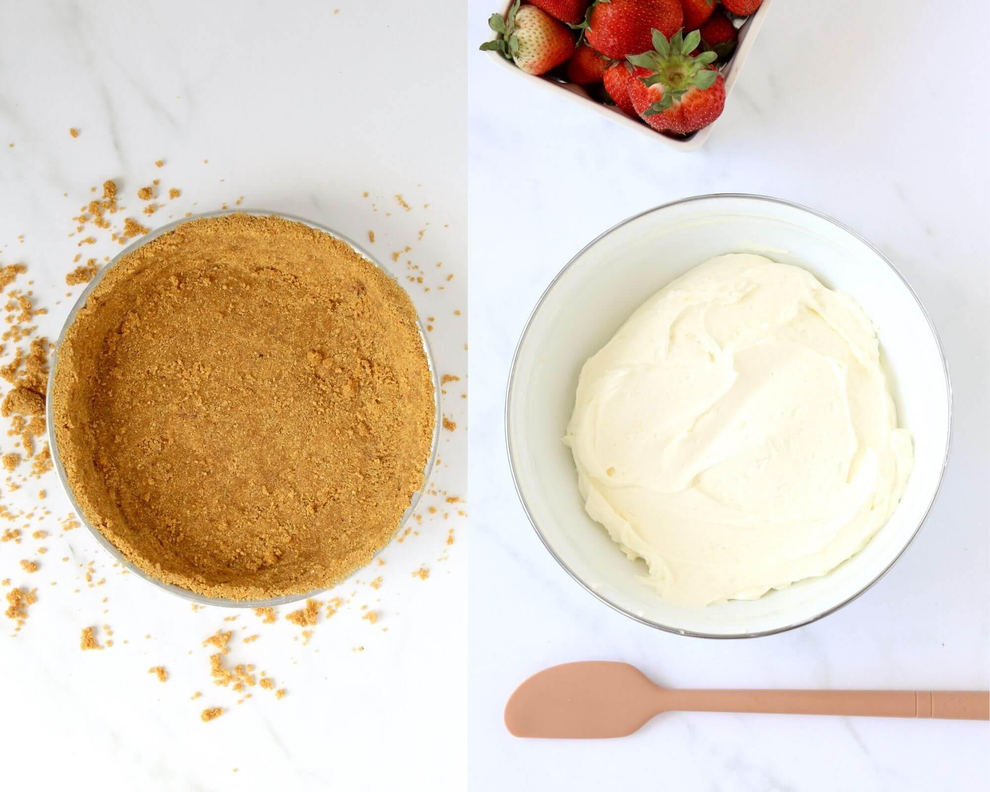 One picture of a graham cracker crust next to a bowl of whipped cheesecake filling.