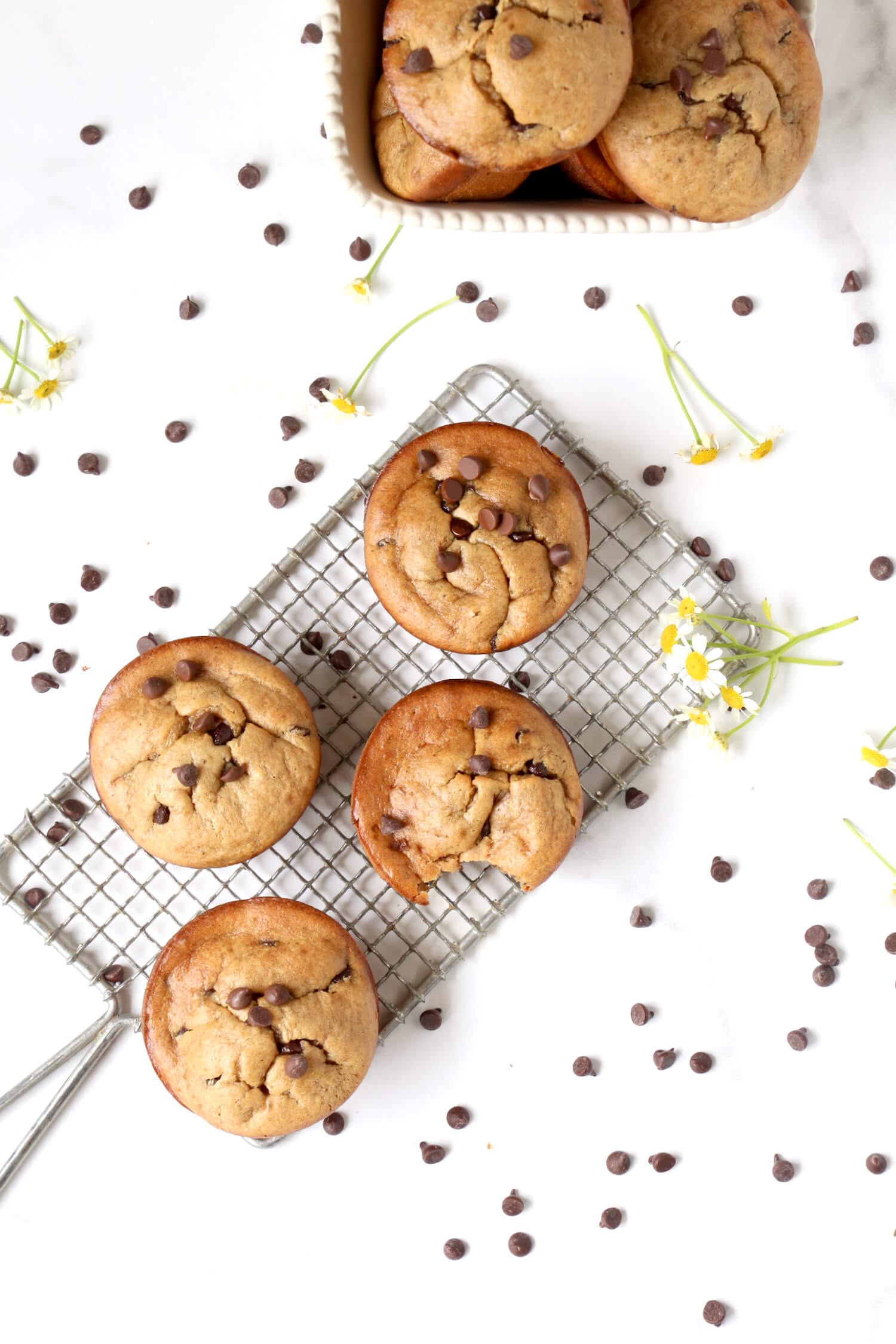 A cooling rack with muffins on top and chocolate chips sprinkled around.