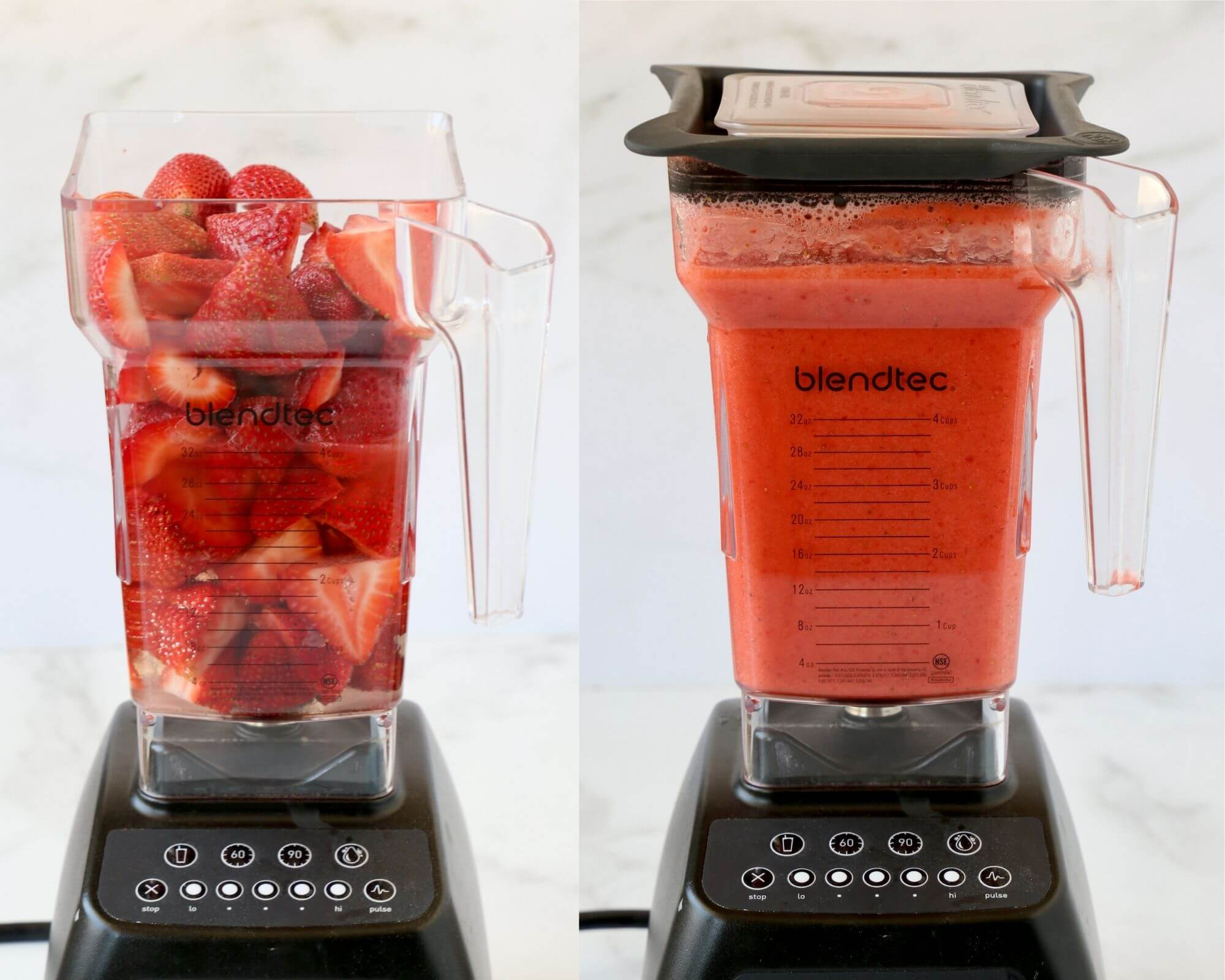 A blender filled with strawberries, next to a blender with pureed strawberries.