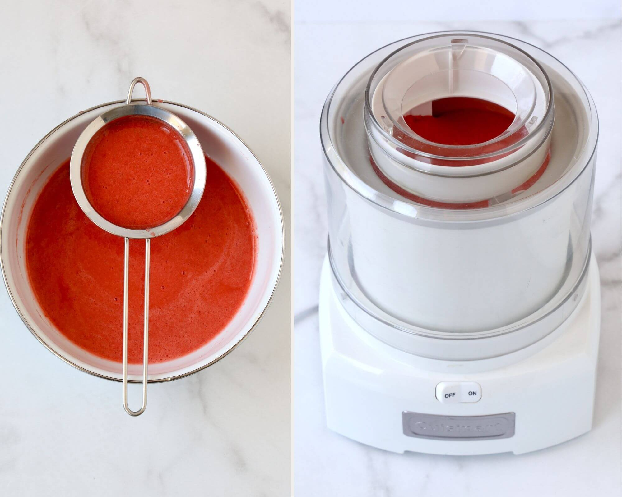 A bowl of strawberry puree with a strainer next to an ice cream machine with strawberry puree inside.