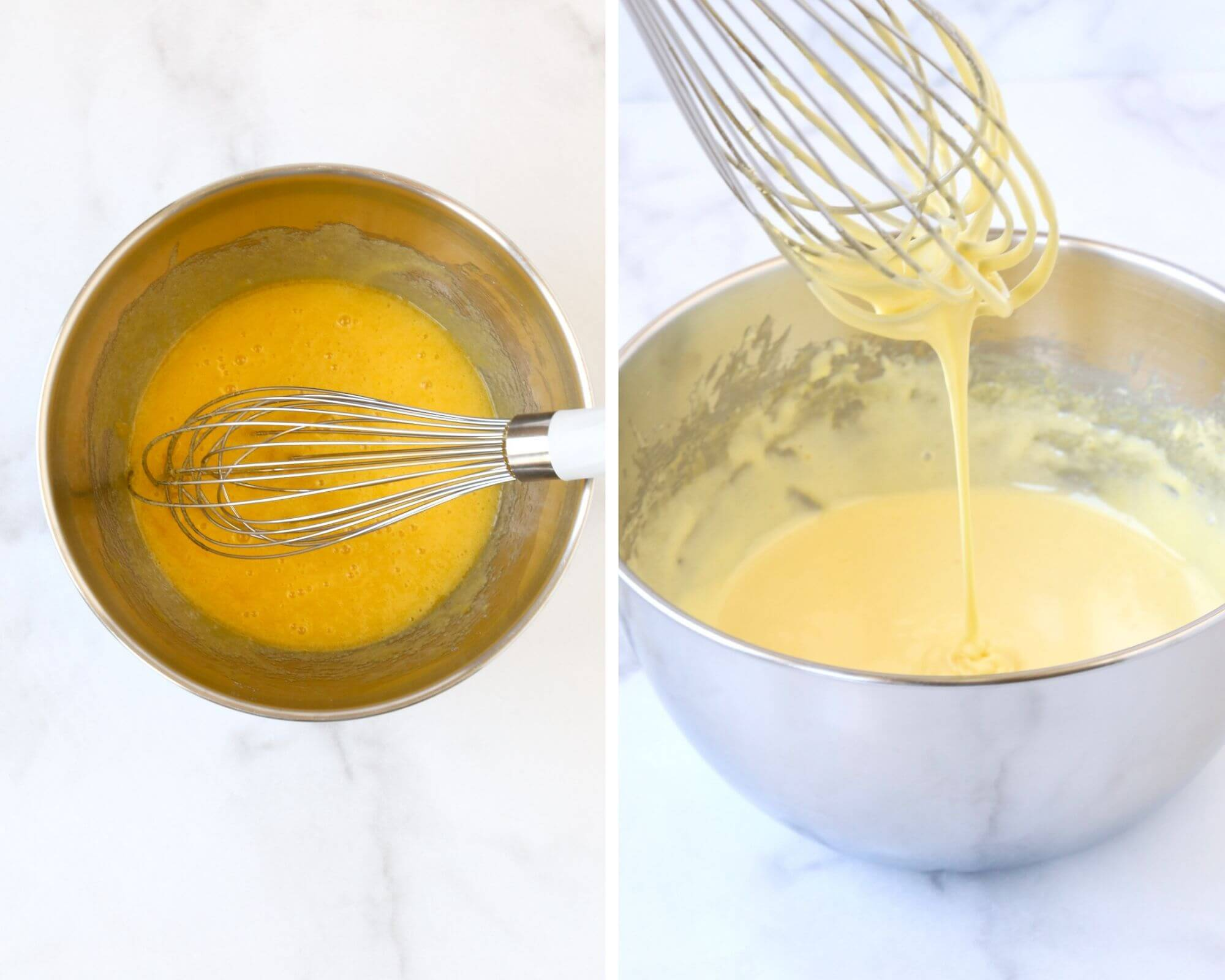 A bowl of egg and sugar with whisk next to another bowl with a whisk.