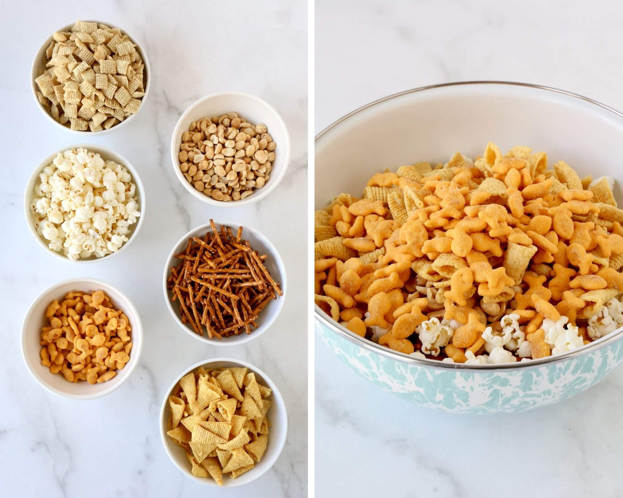 Six bowls with all the ingredients next to one large bowl with all ingredients combined.